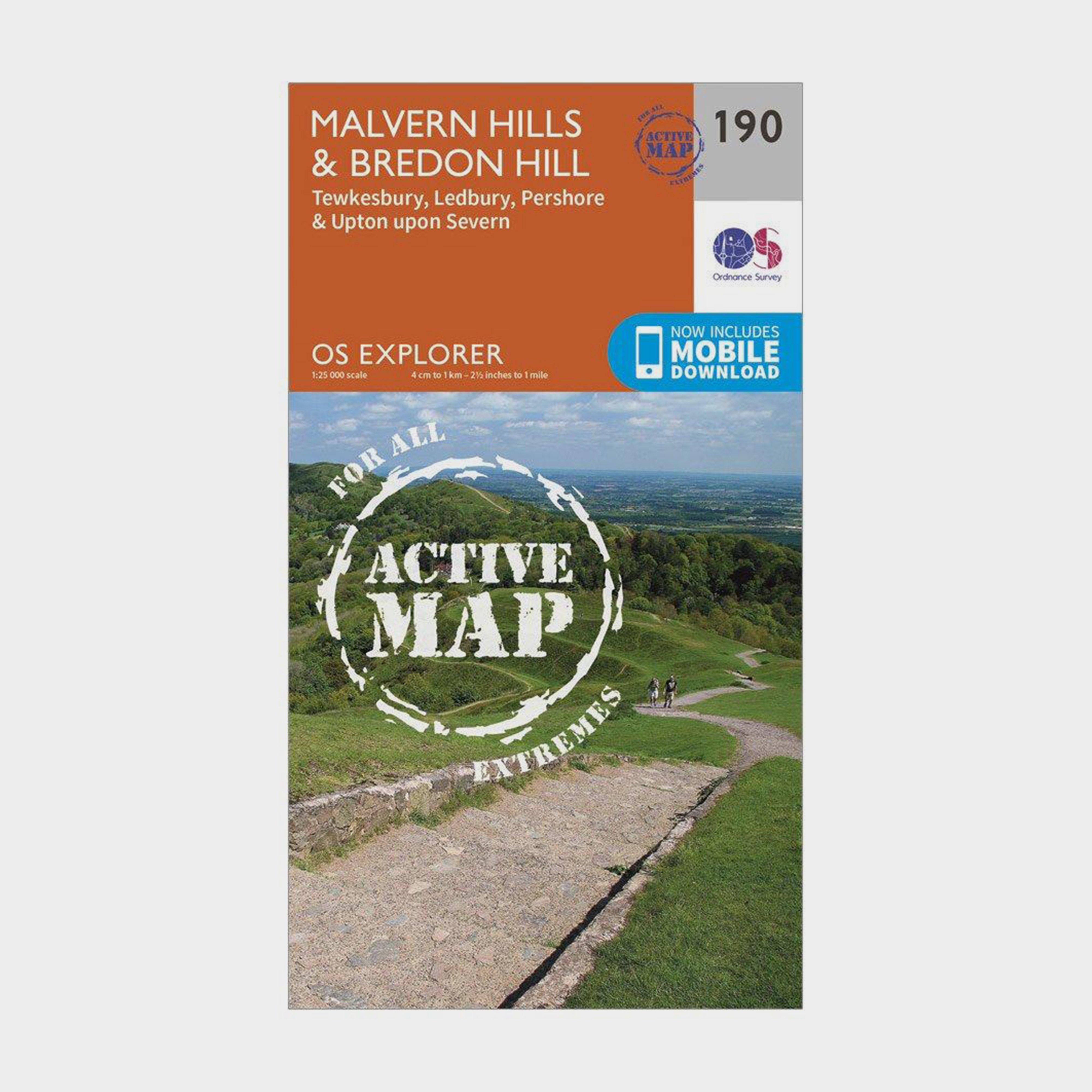 Ordnance Survey Explorer Active 190 Malvern HillsandBredon Hill Map With Digital Version - Orange/d  Orange/d