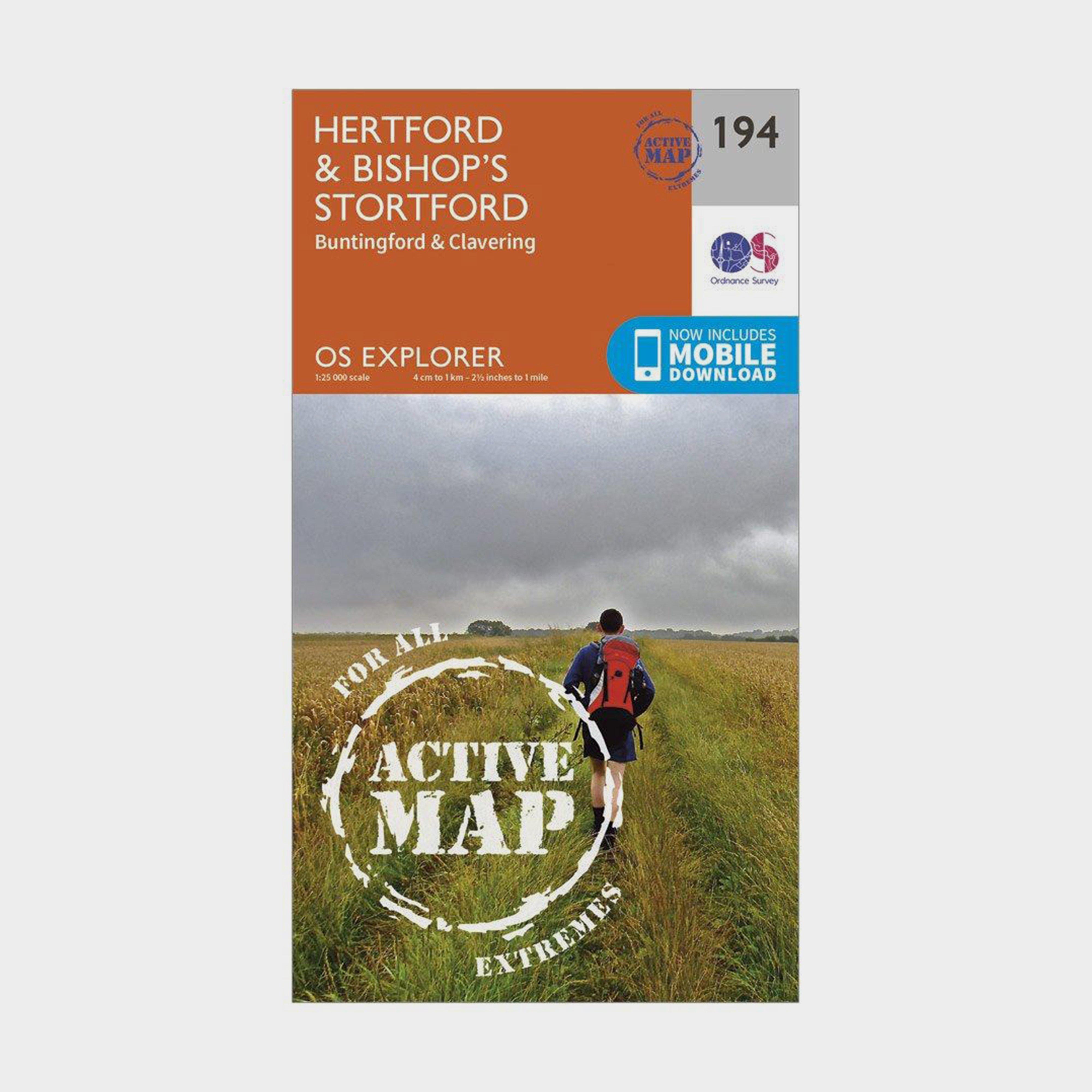 Ordnance Survey Explorer Active 194 HertfordandBishops Stortford Map With Digital Version - Orange/d  Orange/d