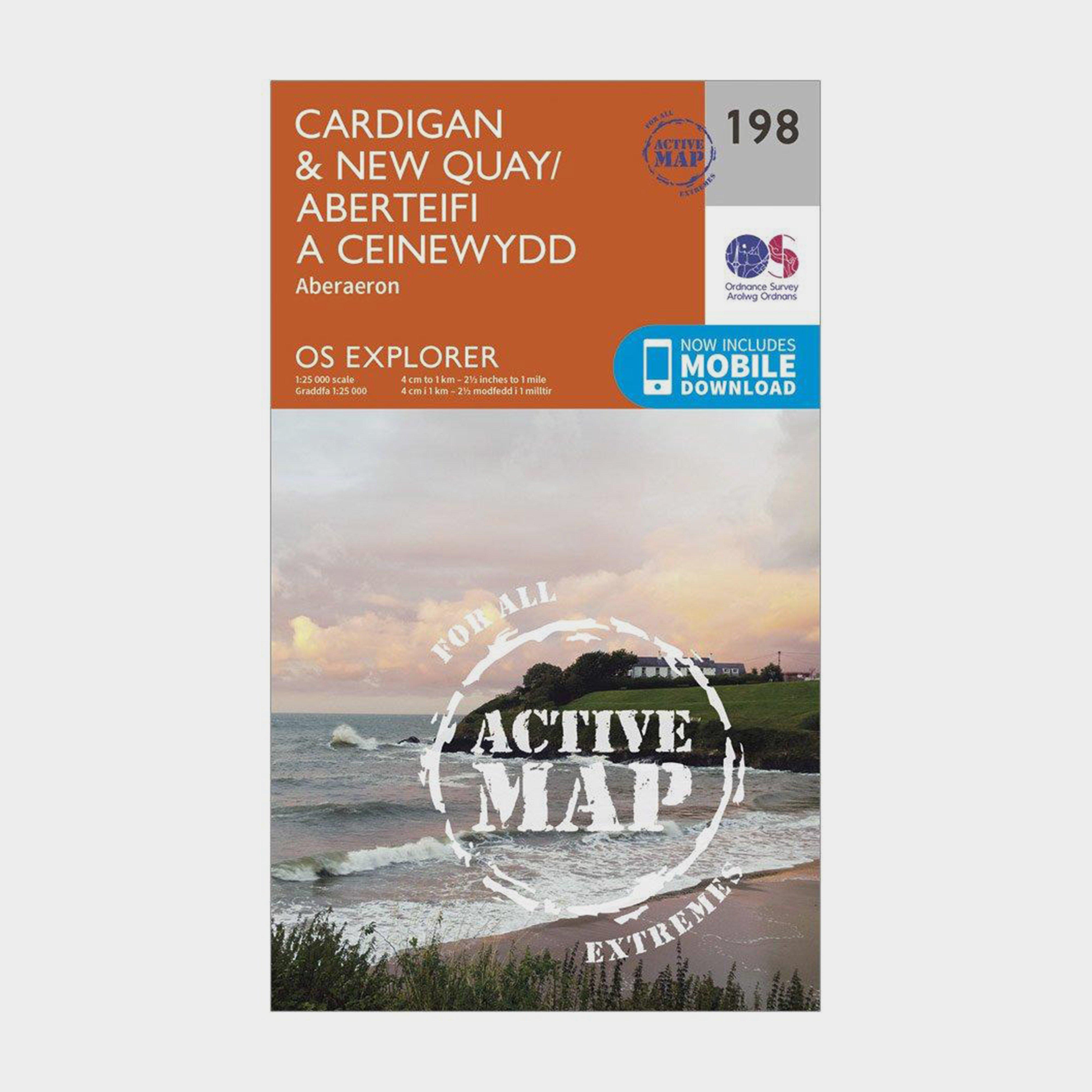 Ordnance Survey Explorer Active 198 CardiganandNew Quay Map With Digital Version - Orange/d  Orange/d