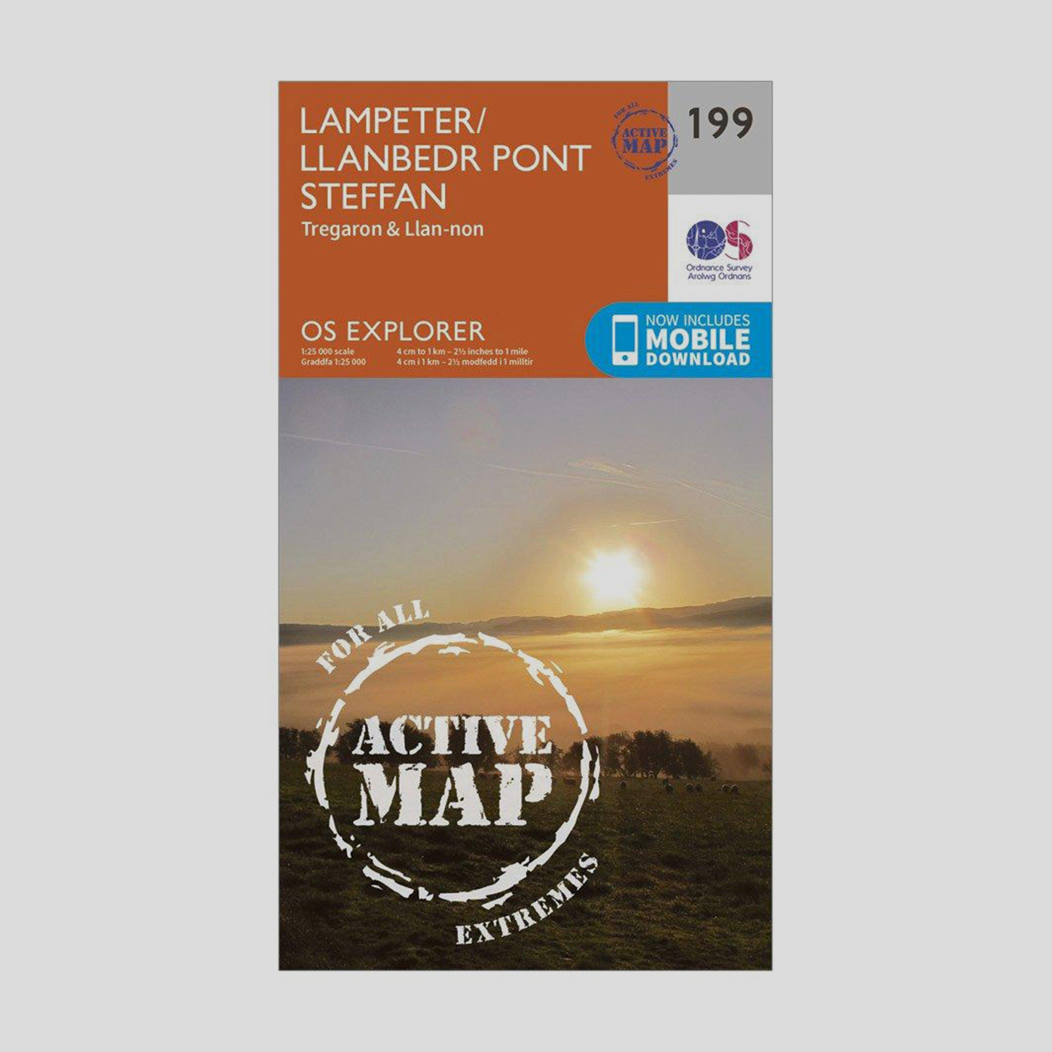 Ordnance Survey Explorer Active 199 Lampeter  TregaronandLlan-non Map With Digital Version - Orange/d  Orange/d