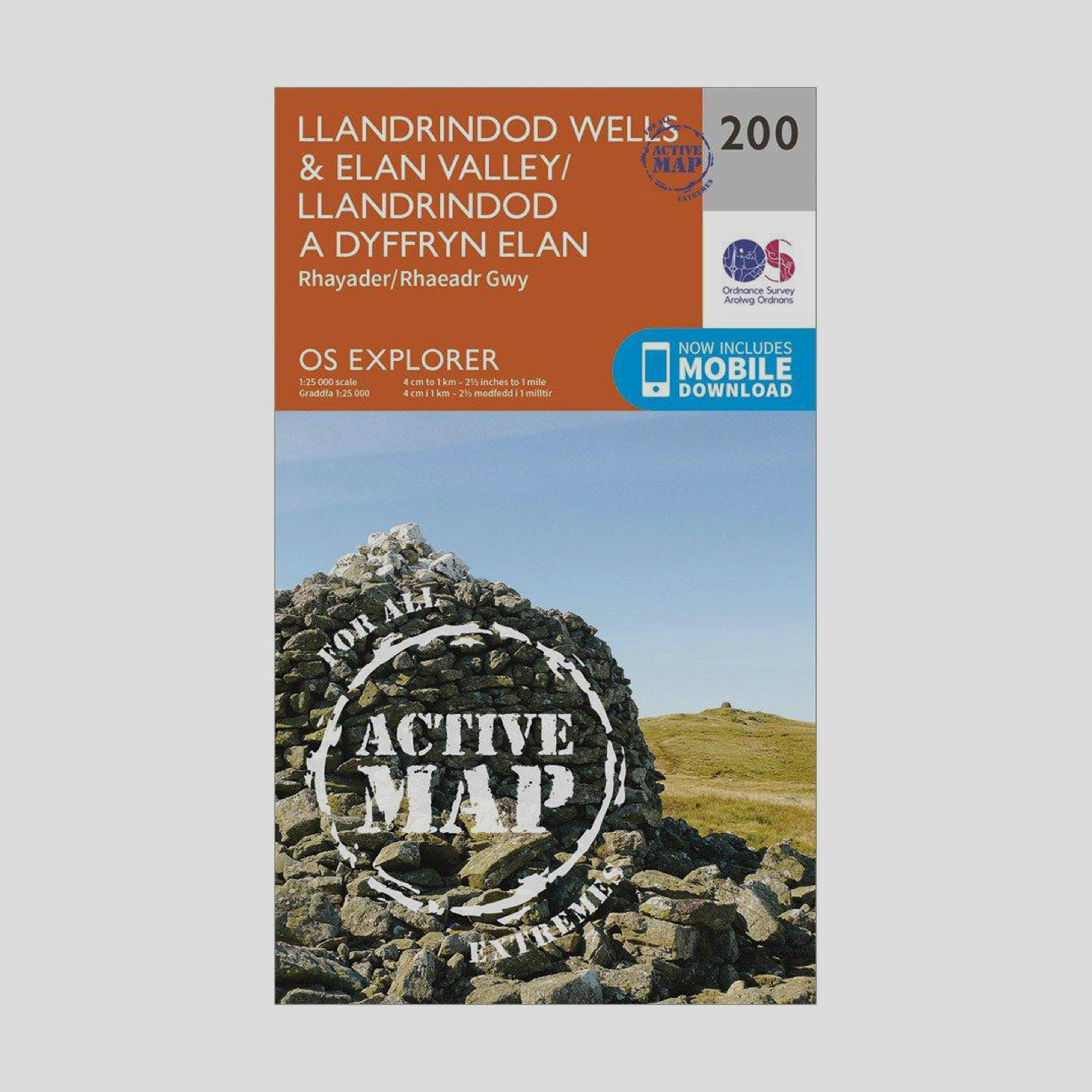Ordnance Survey Explorer Active 200 Llandrindod WellsandElan Valley Map With Digital Version - Orange/d  Orange/d