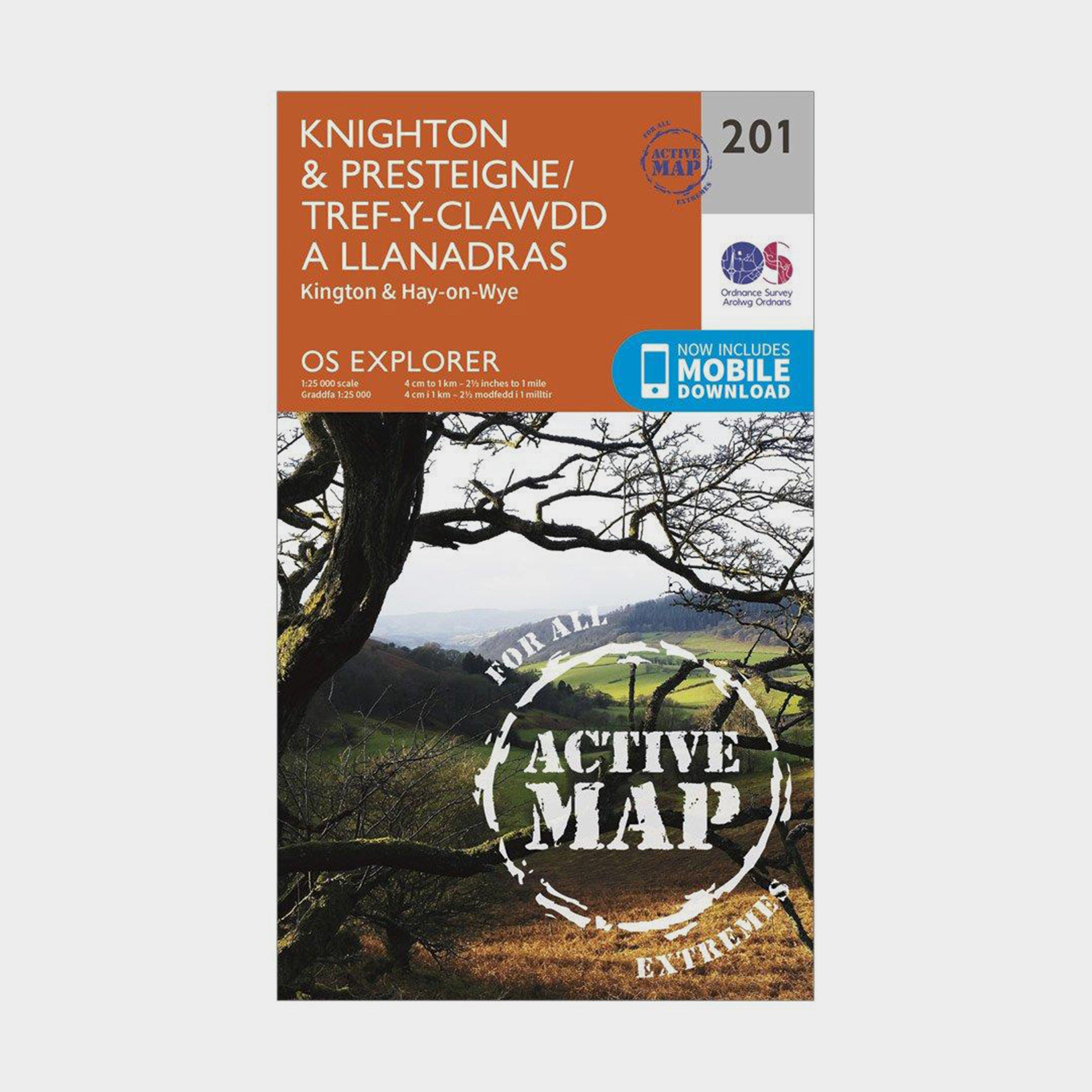 Ordnance Survey Explorer Active 201 KnightonandPresteigne Map With Digital Version - Orange/d  Orange/d
