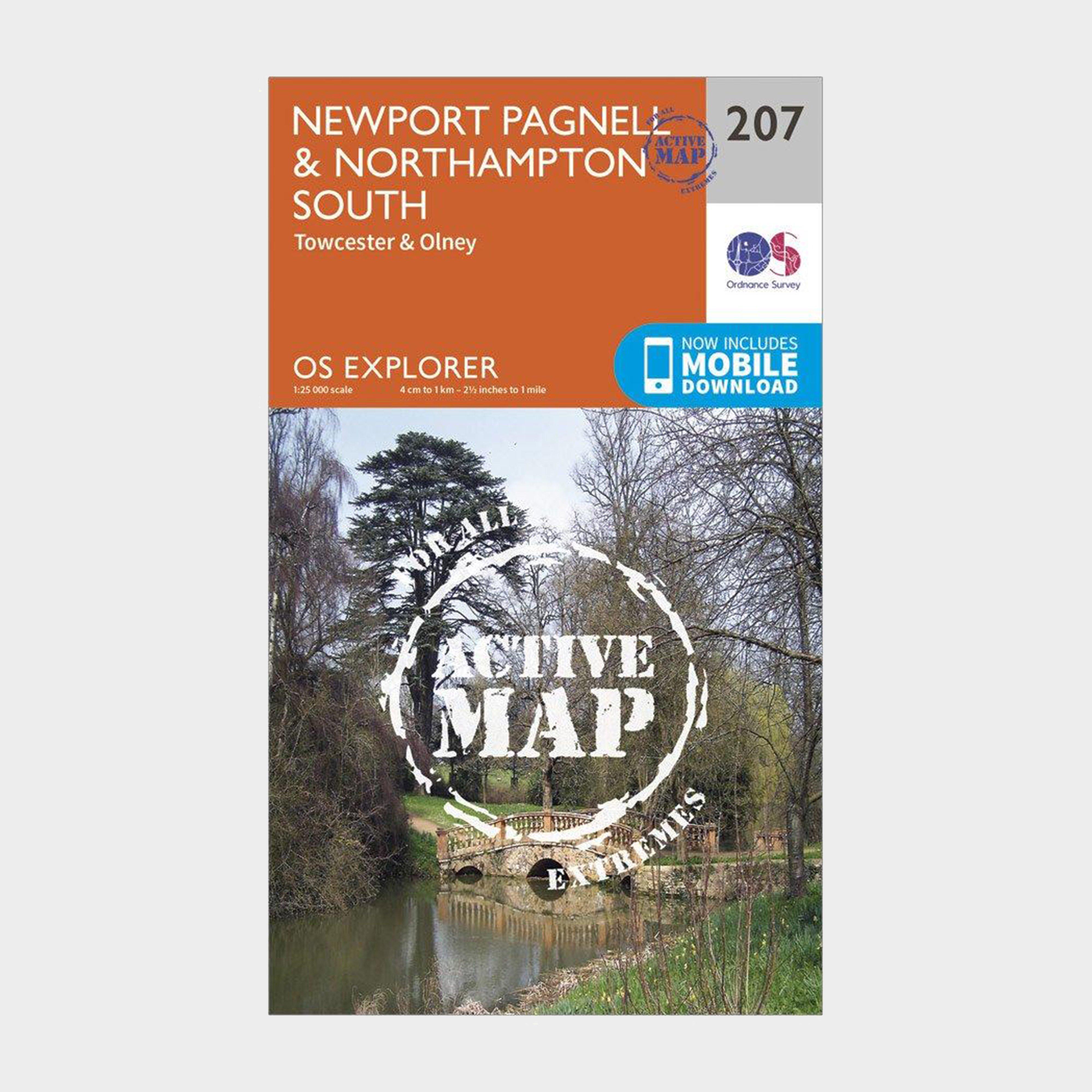 Ordnance Survey Explorer Active 207 Newport PagnellandNorthampton South Map With Digital Version - Orange/d  Orange/d