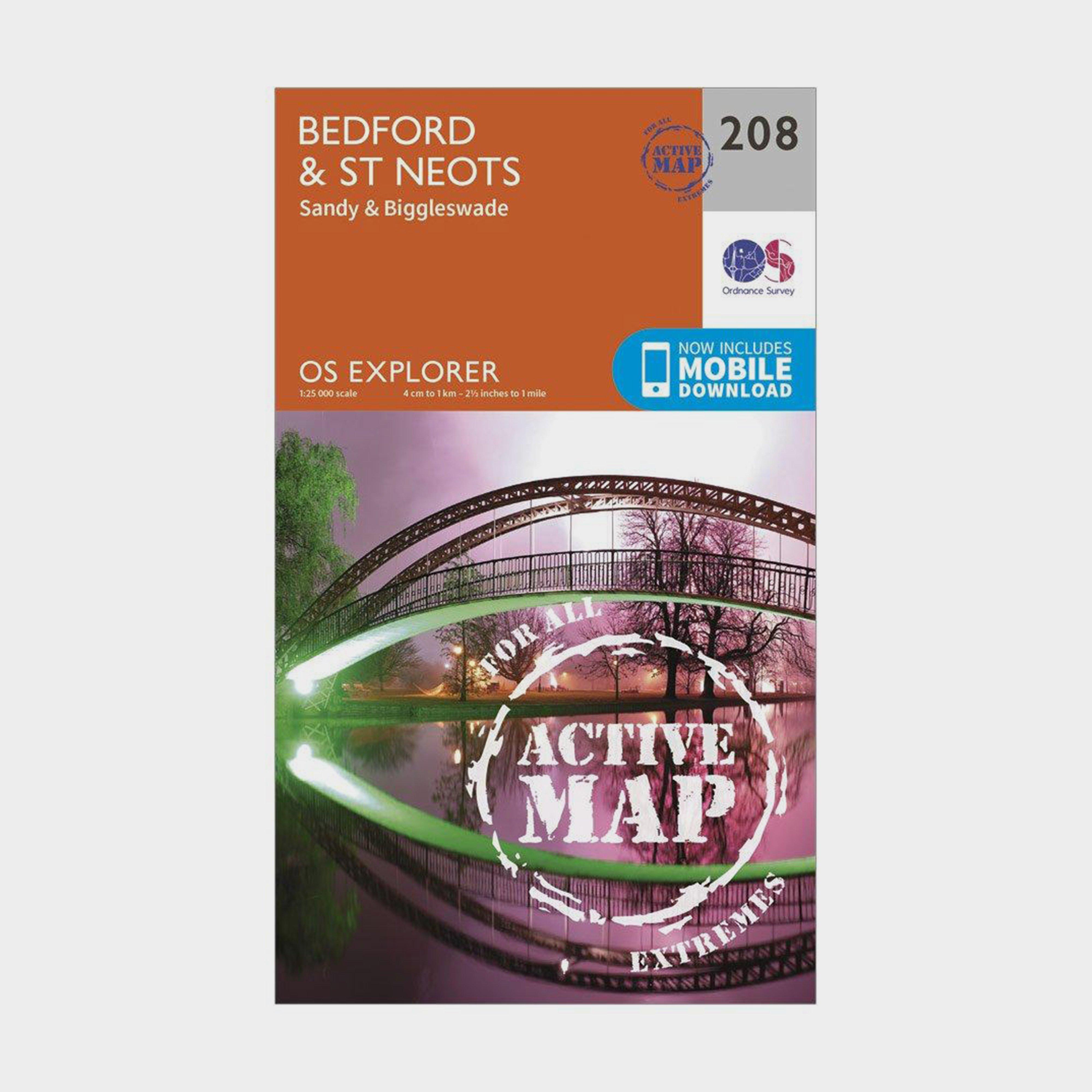 Ordnance Survey Explorer Active 208 BedfordandSt Neots Map With Digital Version - Orange/d  Orange/d