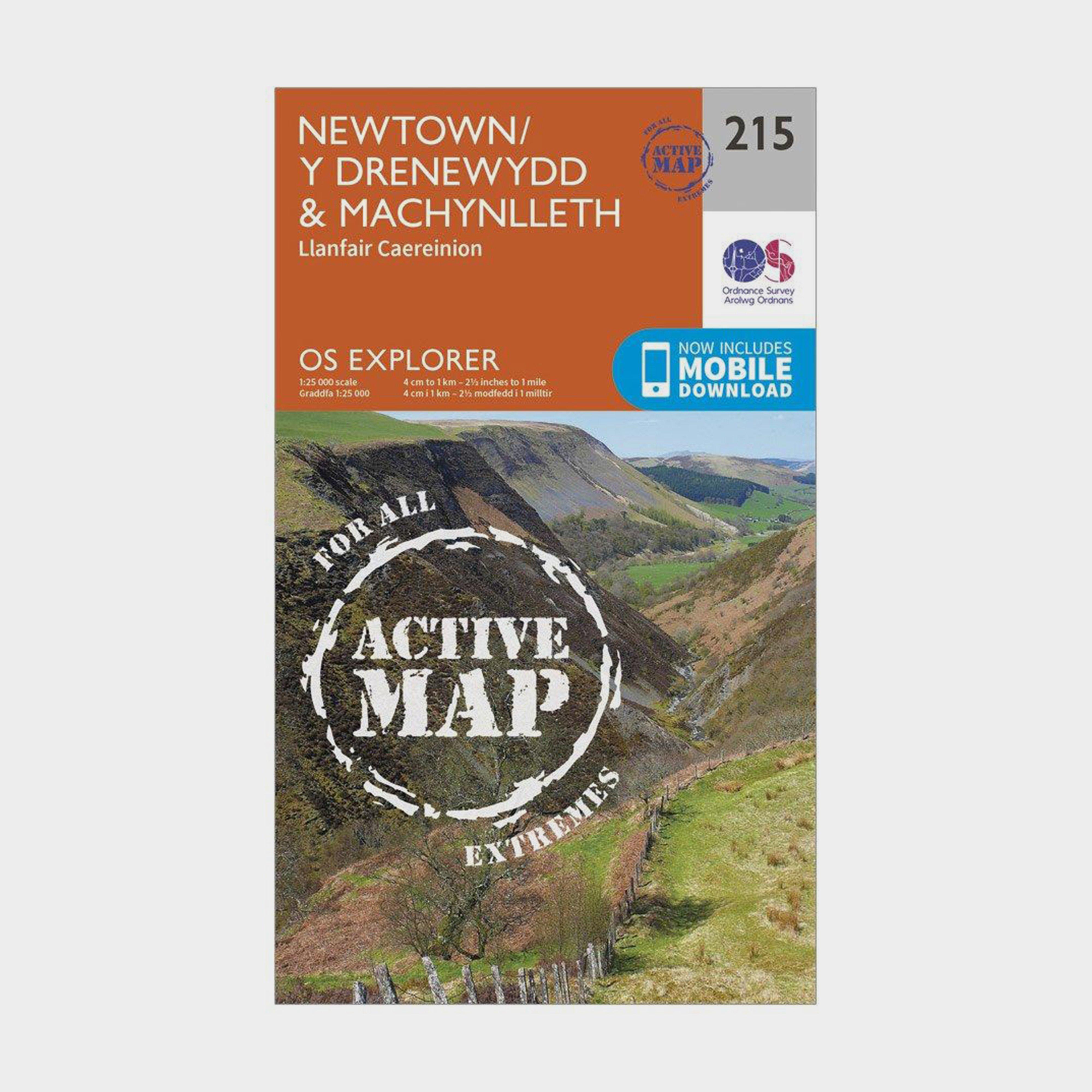 Ordnance Survey Explorer Active 215 NewtonandLlanfair Caereinion Map With Digital Version - Orange/d  Orange/d