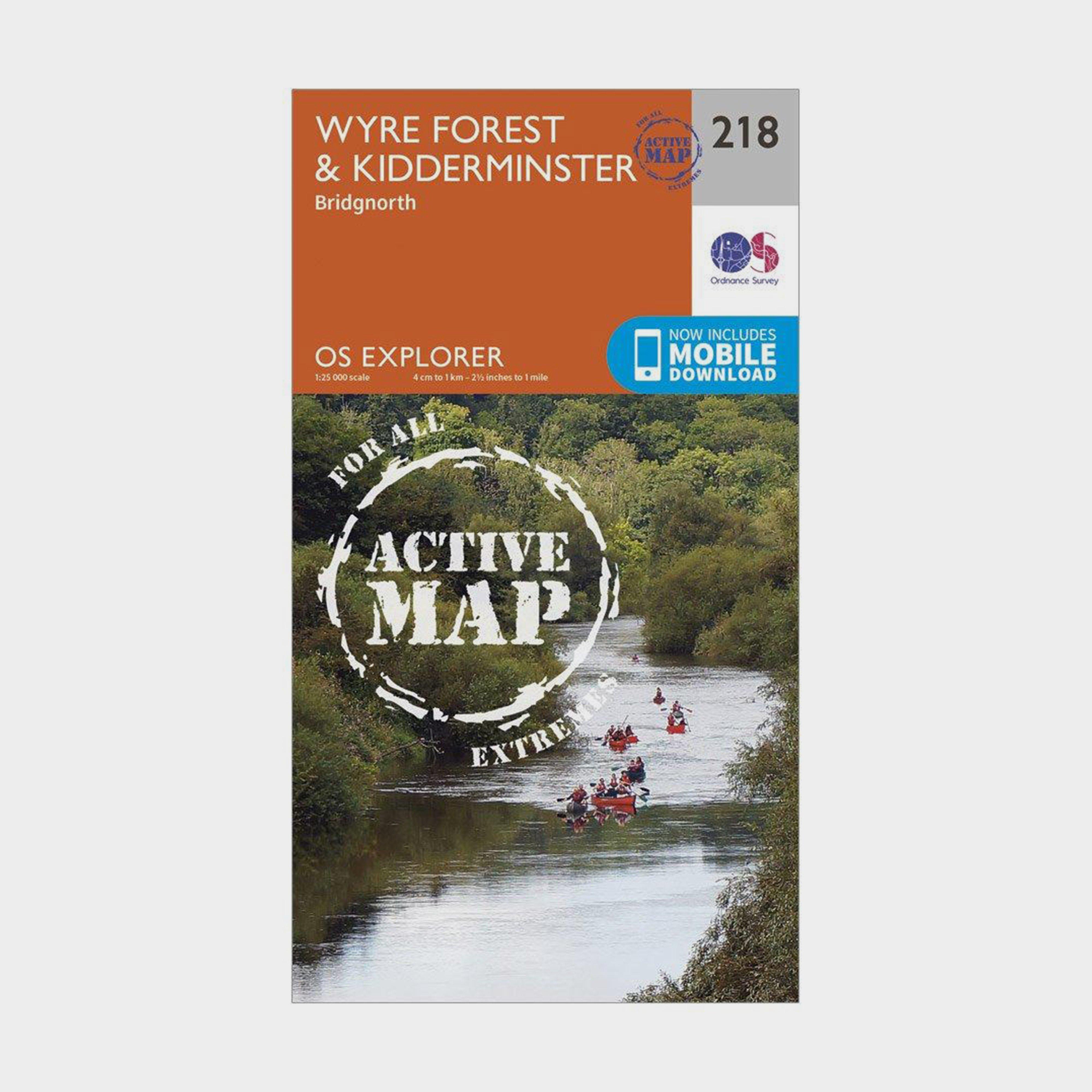 Ordnance Survey Explorer Active 218 KidderminsterandWyre Forest Map With Digital Version - Orange/d  Orange/d
