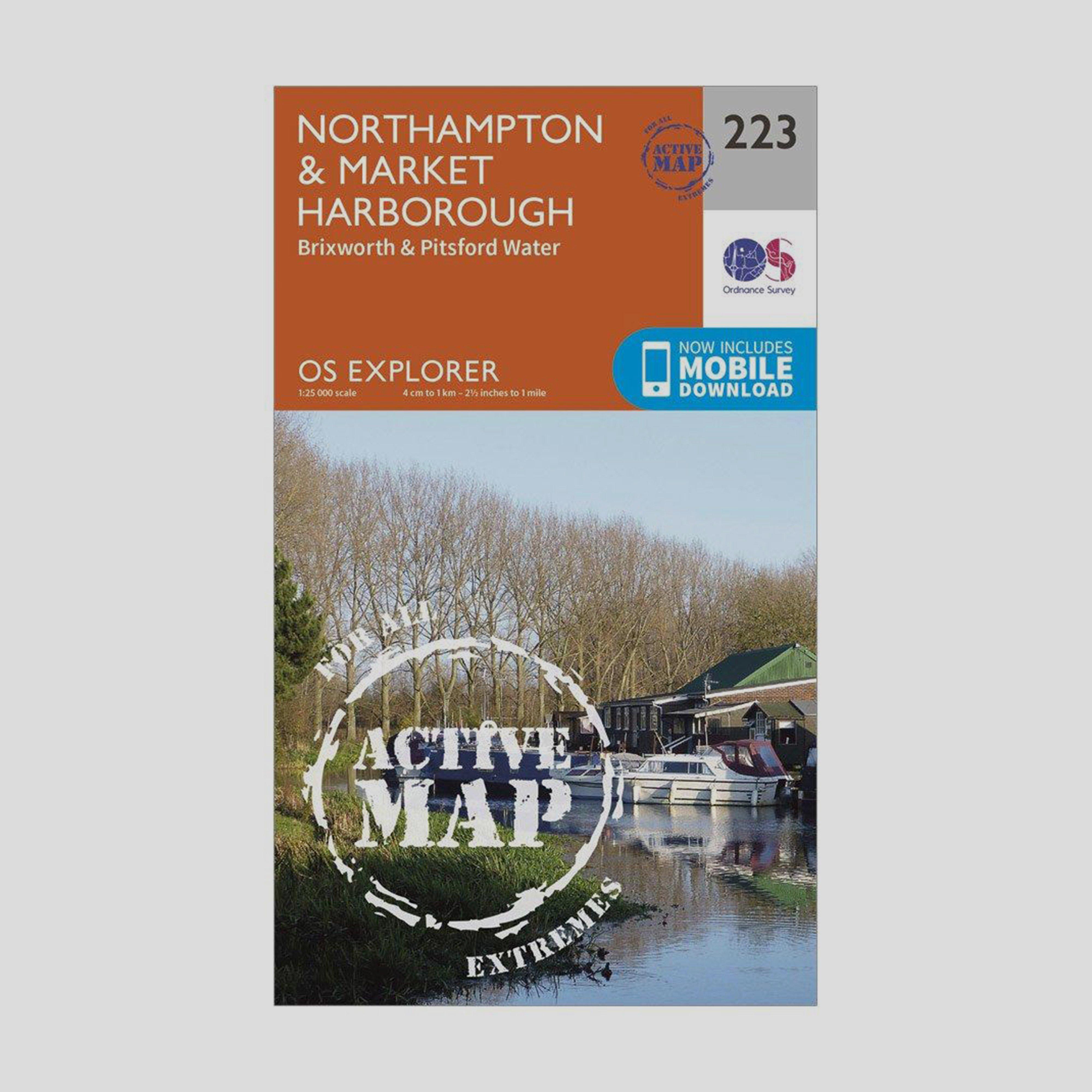 Ordnance Survey Explorer Active 223 NorthamptonandMarket Harborough Map With Digital Version - Orange/d  Orange/d