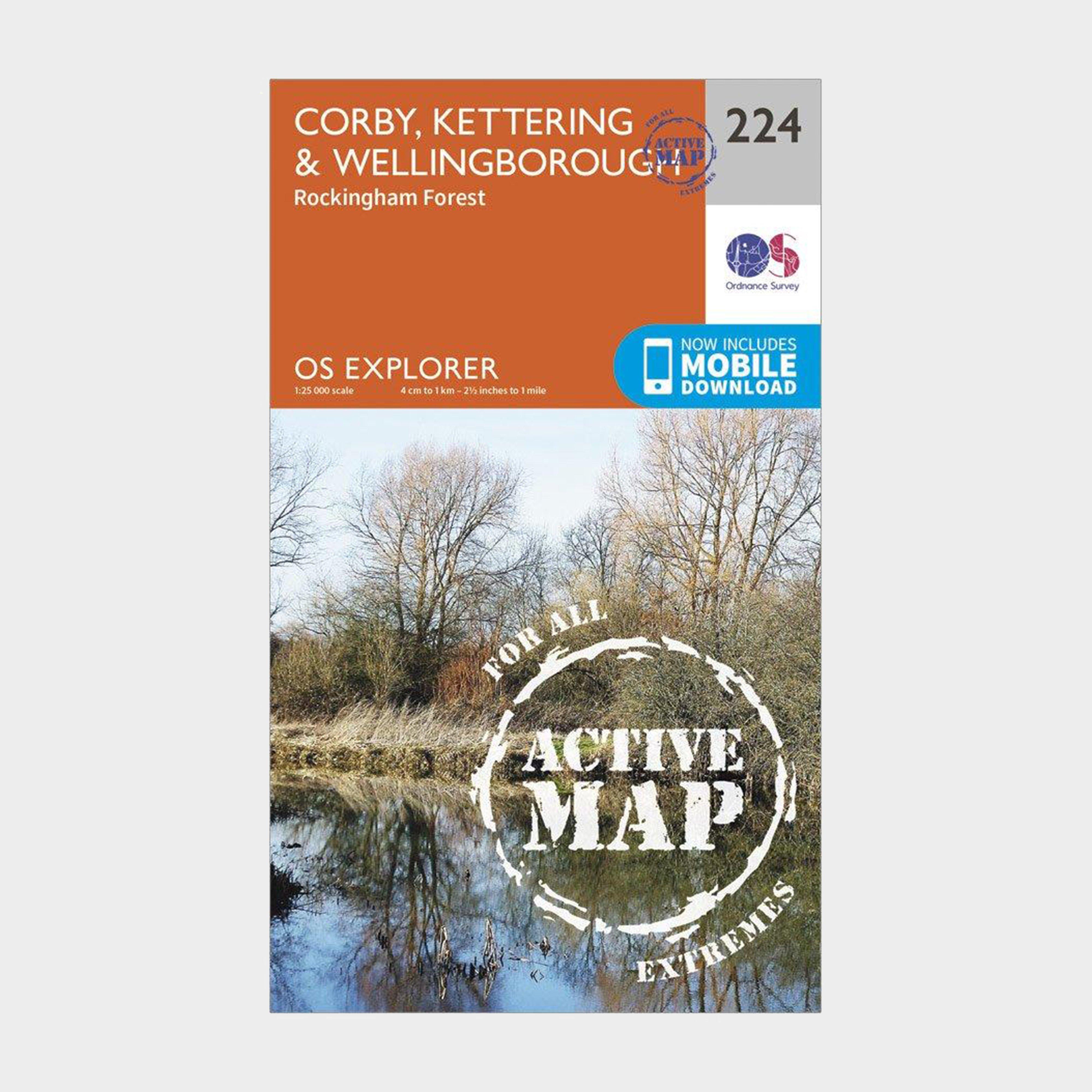 Ordnance Survey Explorer Active 224 Corby  KetteringandWellingborough Map With Digital Version - Orange/d  Orange/d