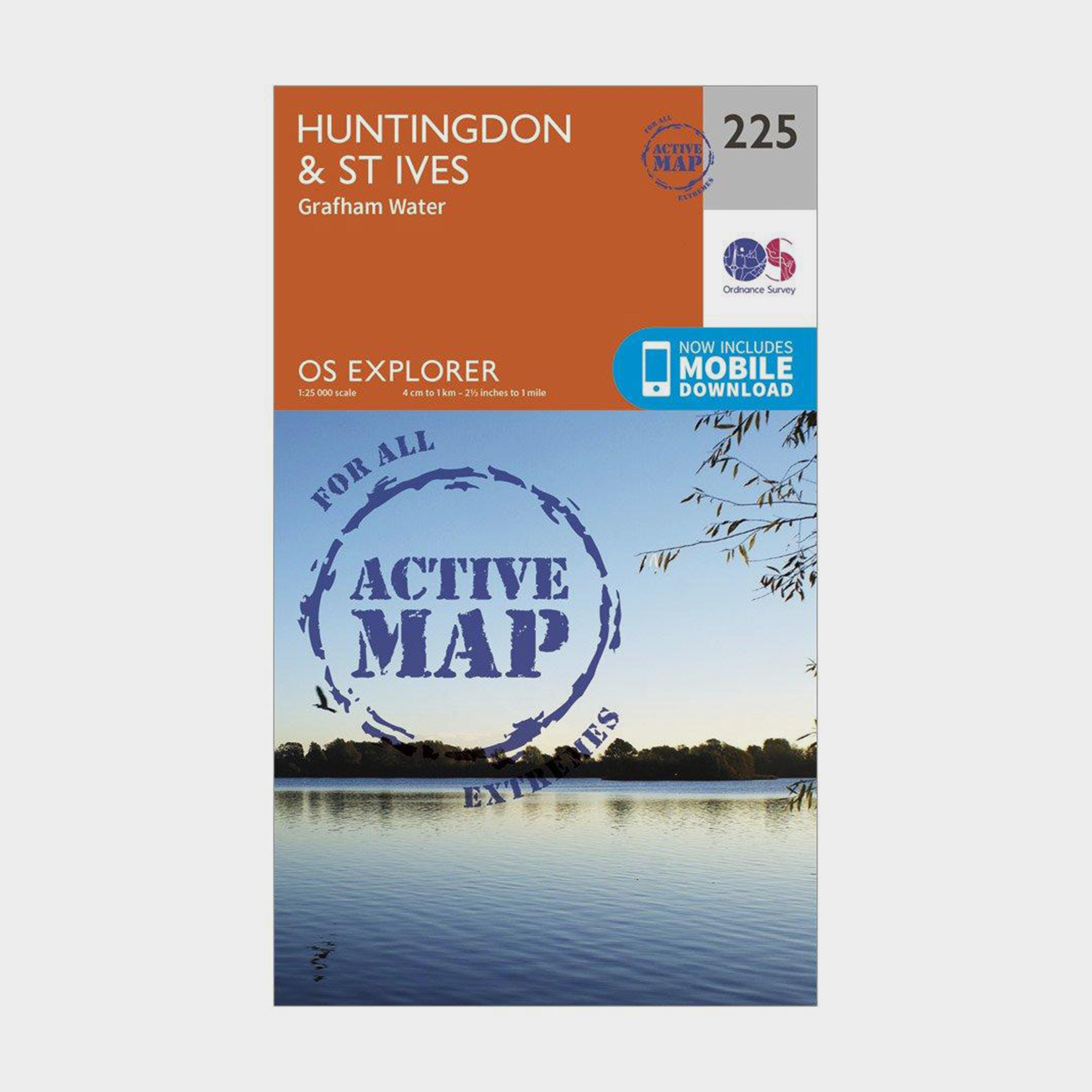 Ordnance Survey Explorer Active 225 HuntingdonandSt Ives Map With Digital Version - Orange/d  Orange/d