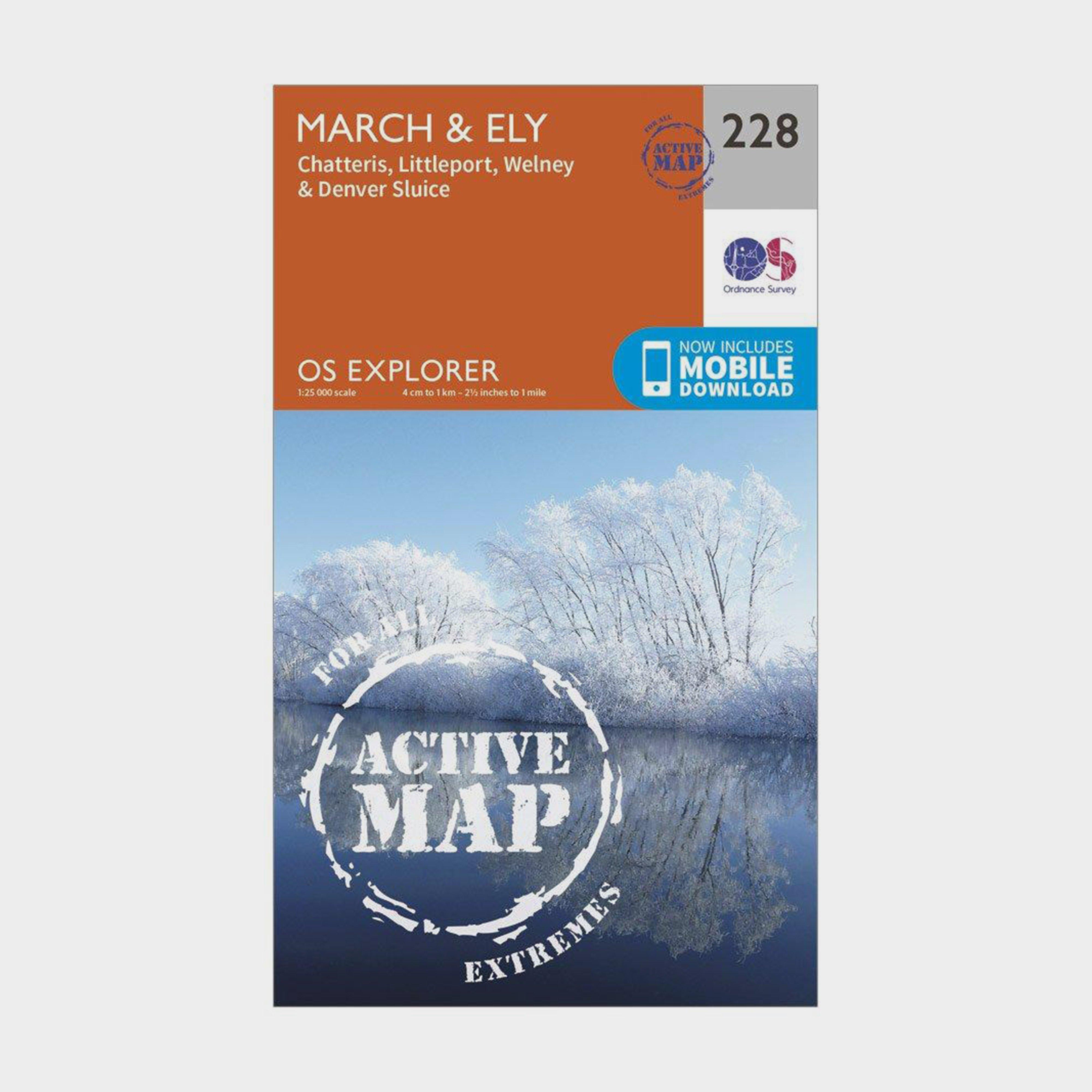 Ordnance Survey Explorer Active 228 MarchandEly Map With Digital Version - Orange/d  Orange/d