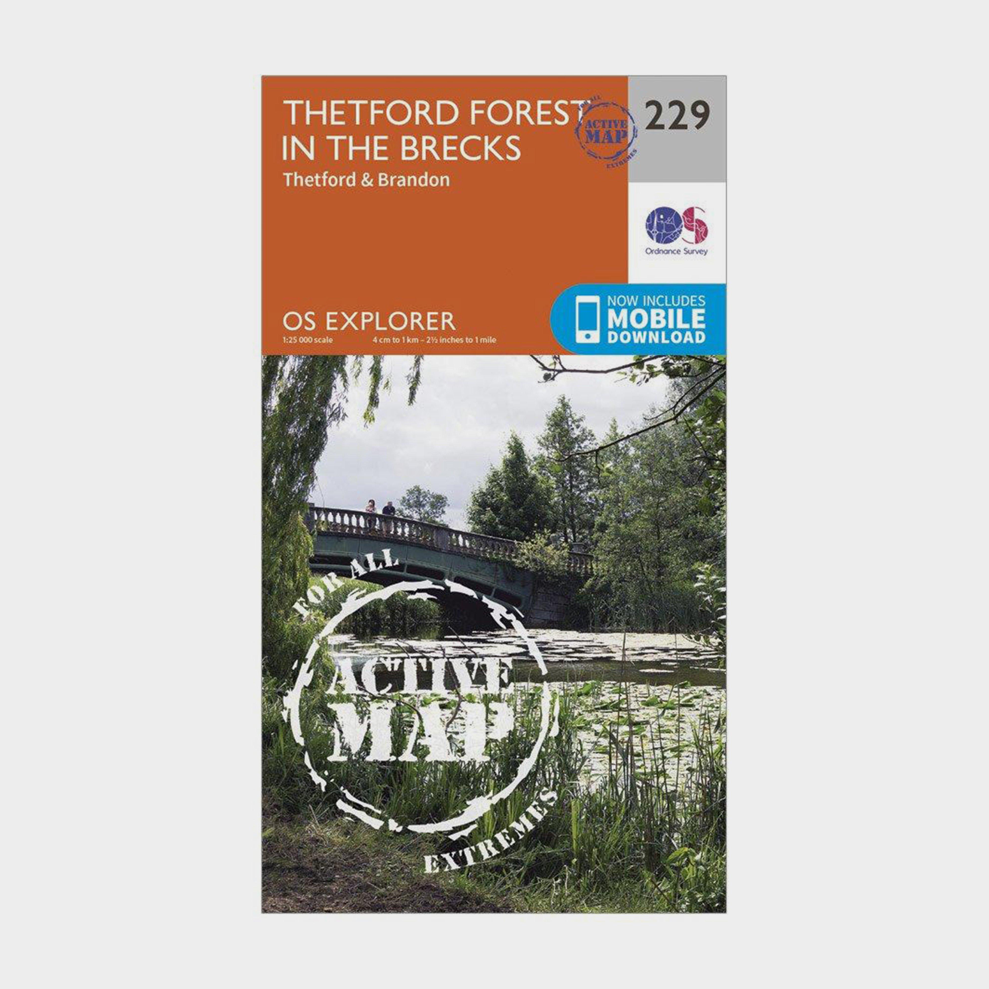 Ordnance Survey Explorer Active 229 Thetford Forest In The Brecks Map With Digital Version - Orange/d  Orange/d