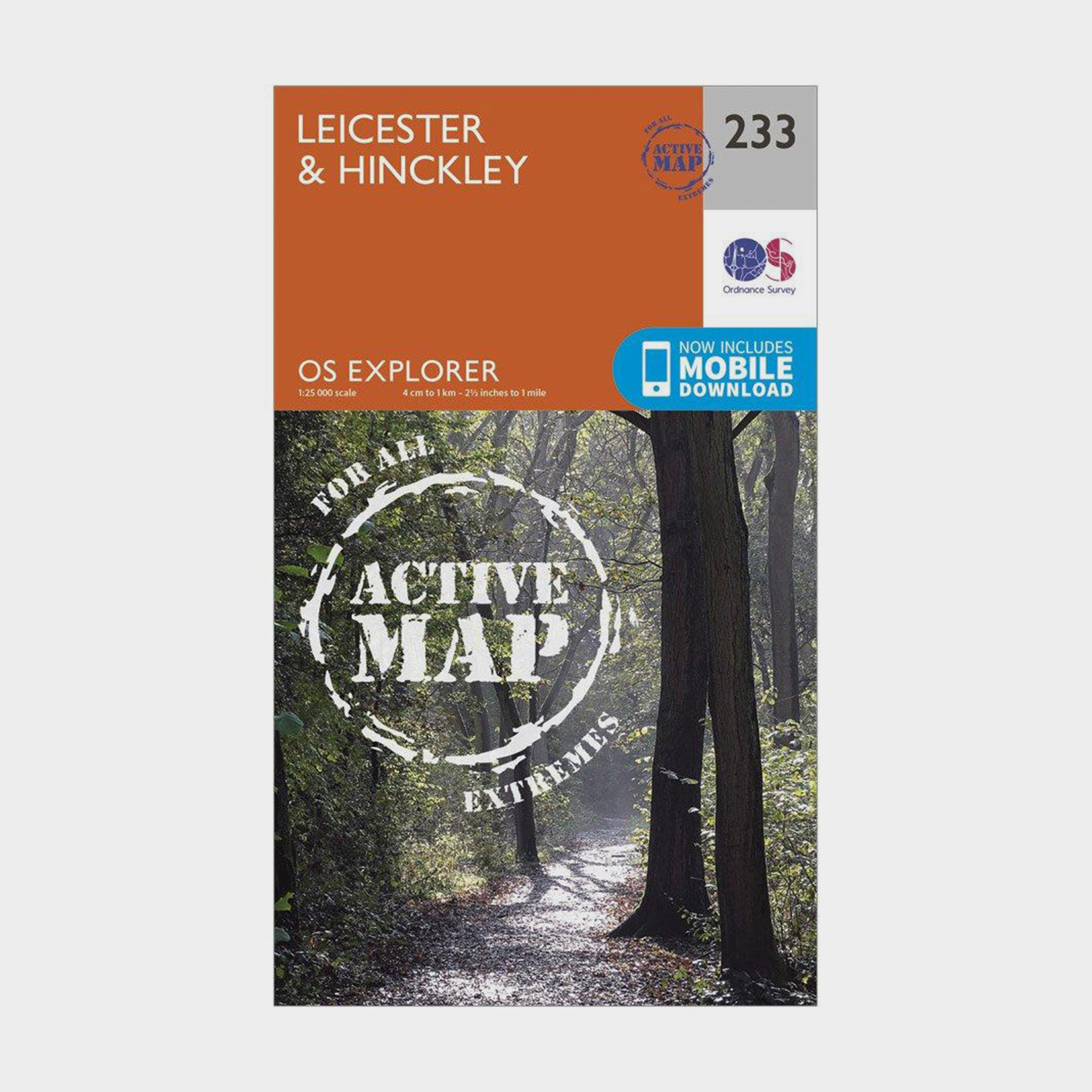 Ordnance Survey Explorer Active 233 LeicesterandHinckley Map With Digital Version - Orange/d  Orange/d