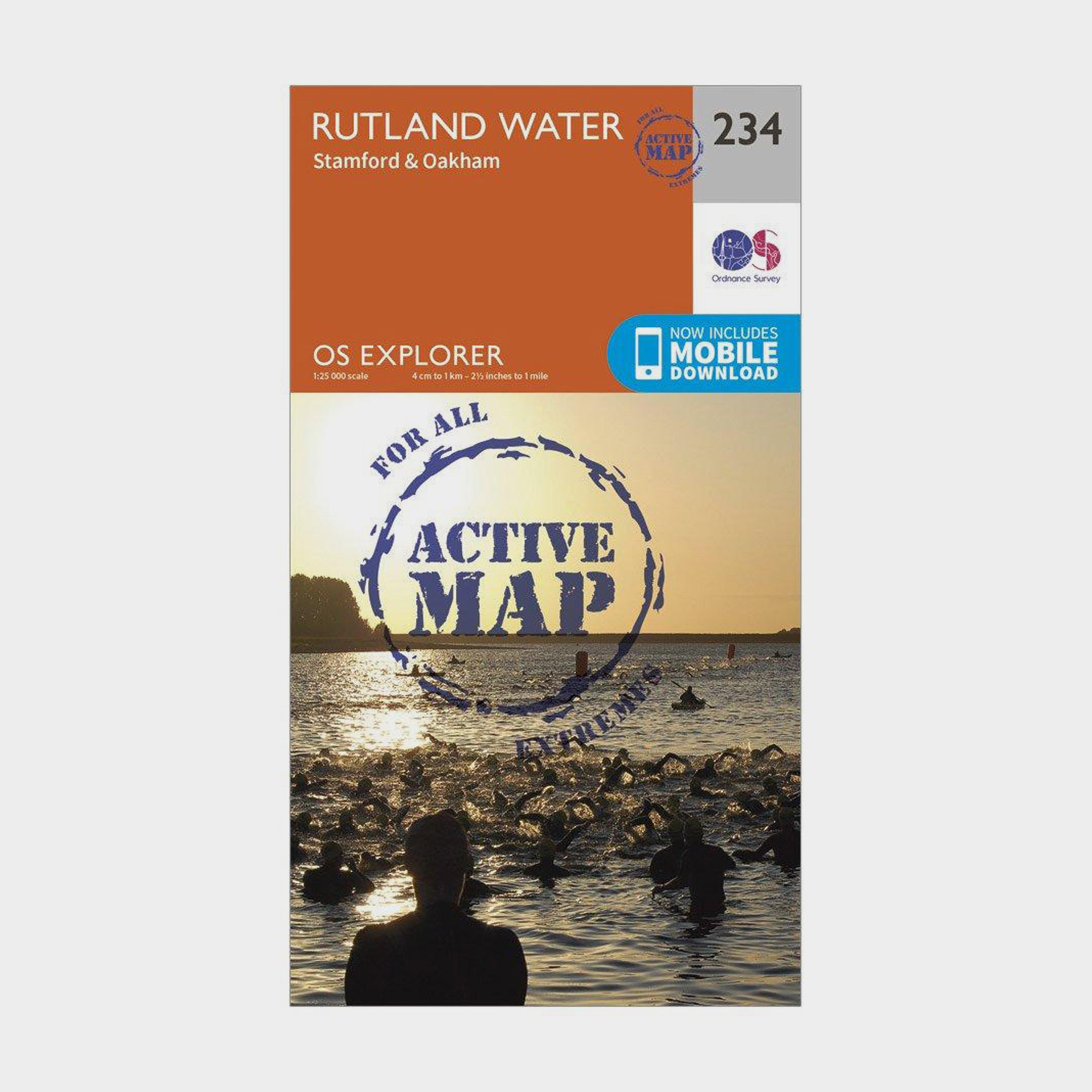 Ordnance Survey Explorer Active 234 Rutland Water Map With Digital Version - Orange/d  Orange/d