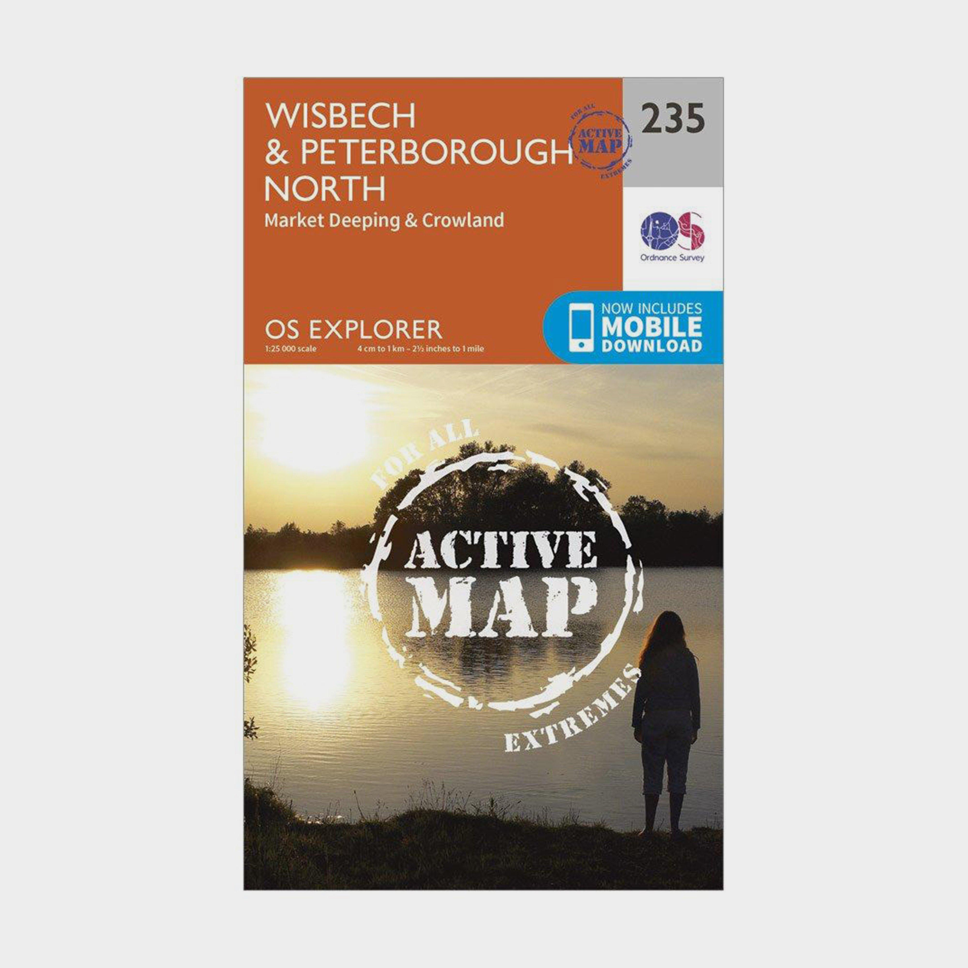Ordnance Survey Explorer Active 235 WisbechandPeterborough North Map With Digital Version - Orange/d  Orange/d