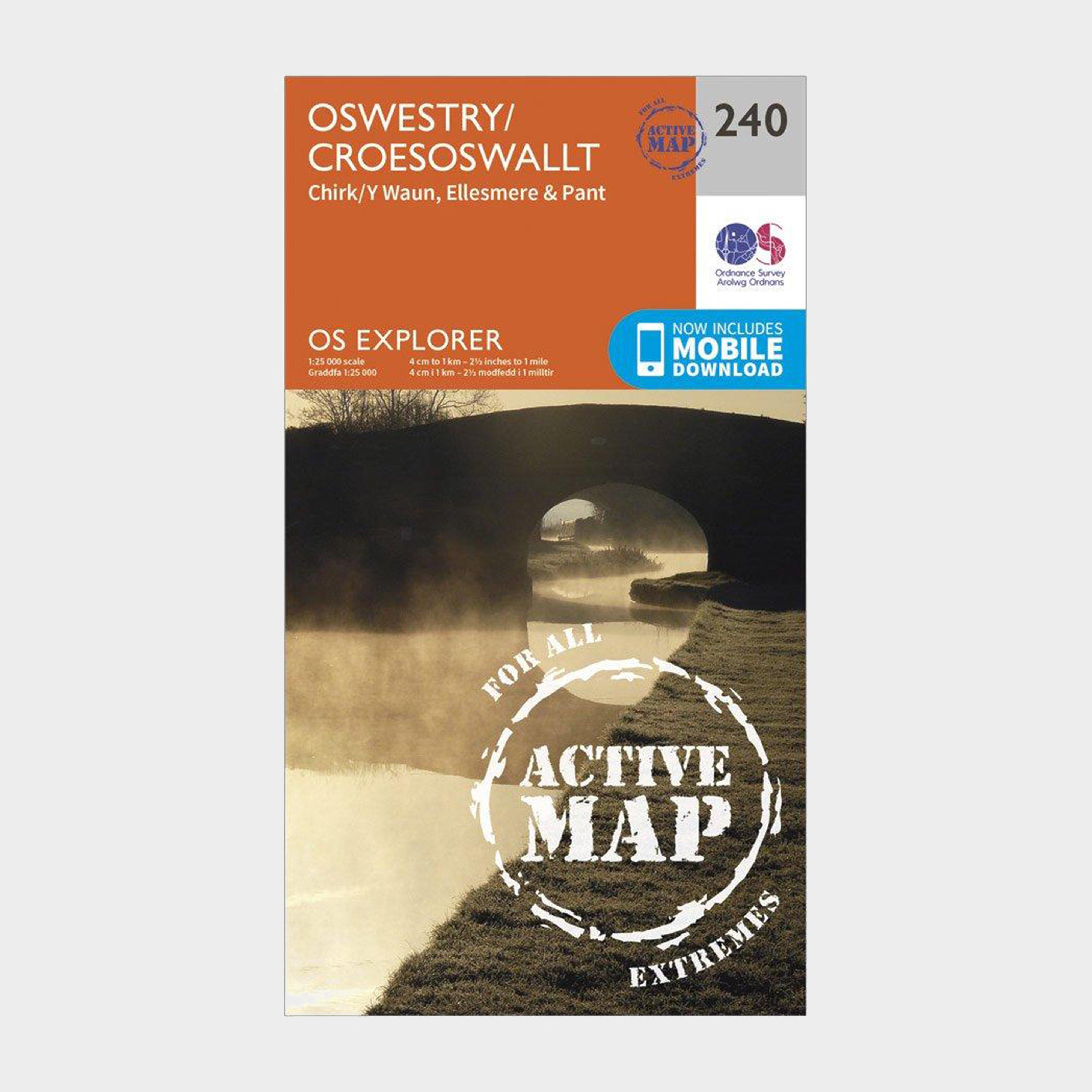 Ordnance Survey Explorer Active 240 Oswestry Map With Digital Version - Orange/d  Orange/d