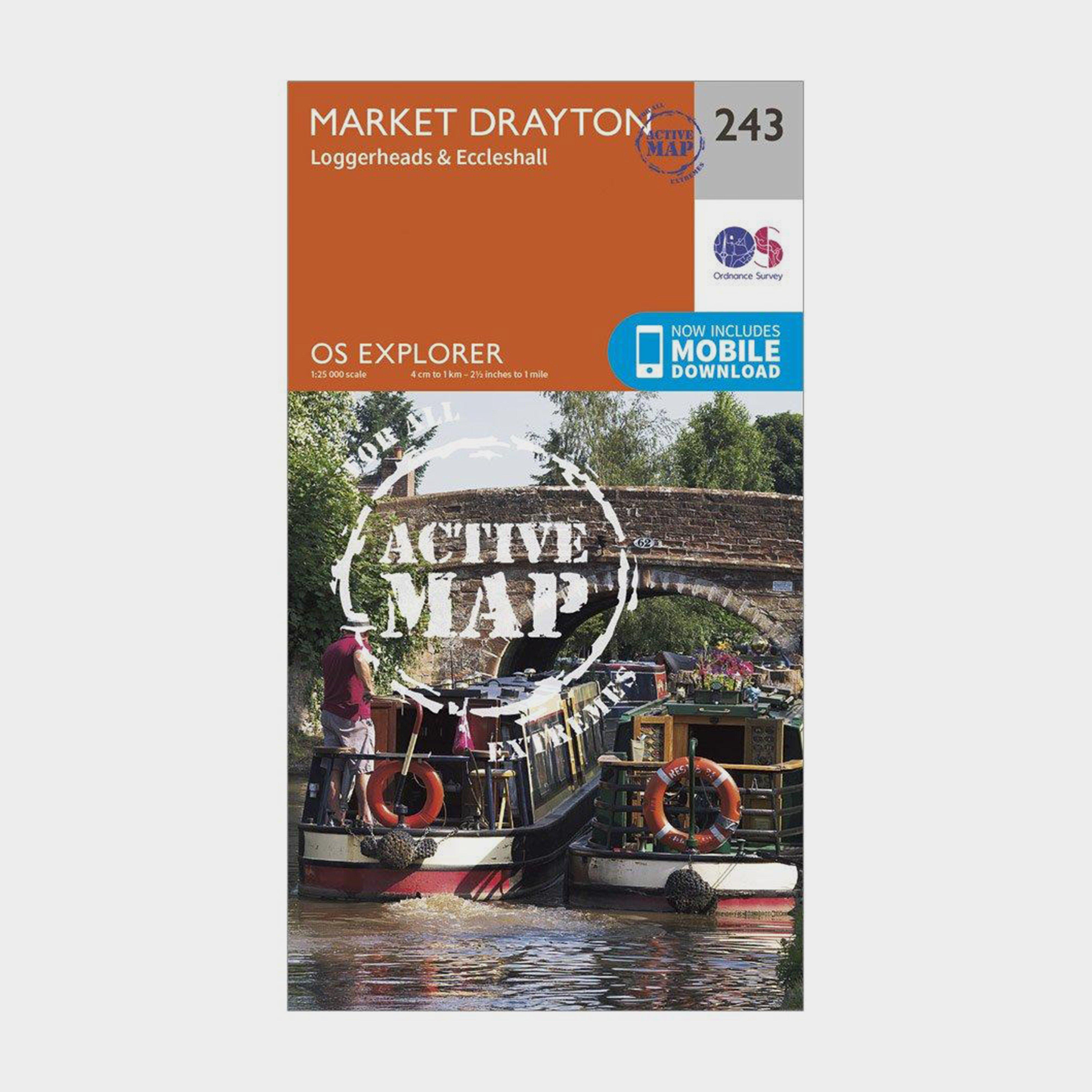 Ordnance Survey Explorer Active 243 Market Drayton  LoggerheadsandEccleshall Map With Digital Version - Orange/d  Orange/d