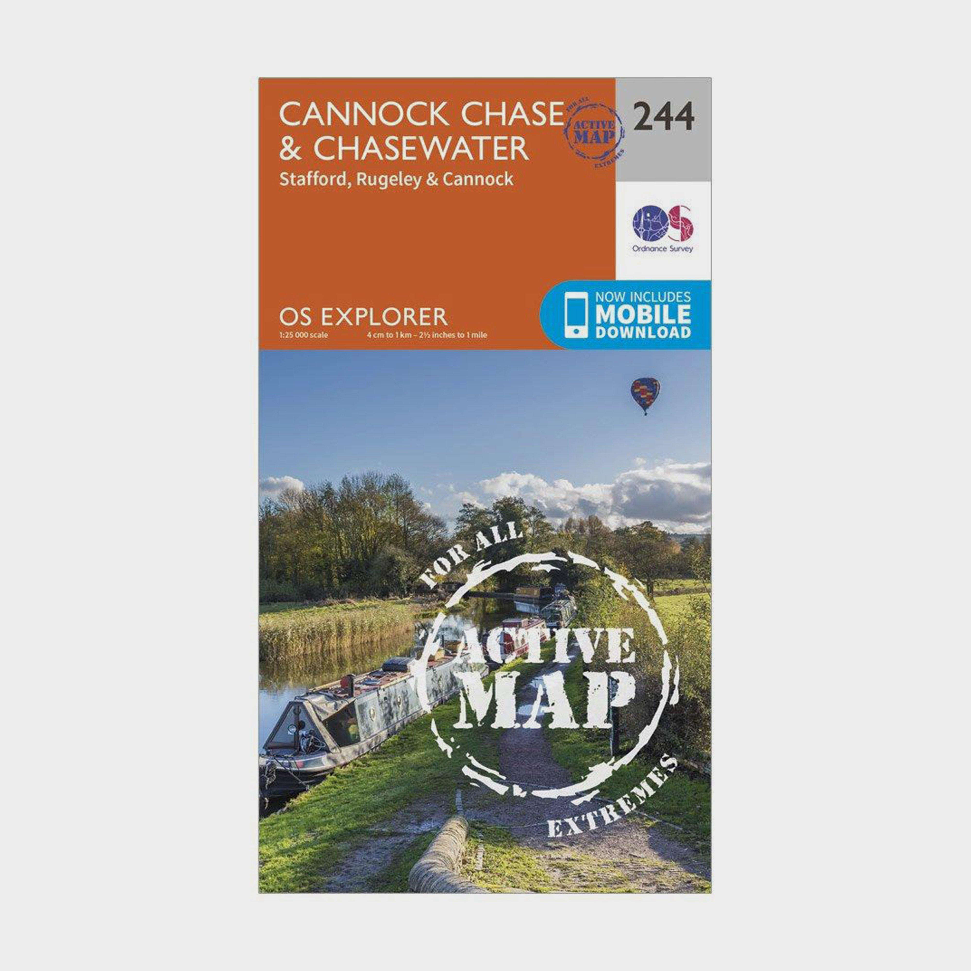Ordnance Survey Explorer Active 244 Cannock ChaseandChasewater Map With Digital Version - Orange/d  Orange/d