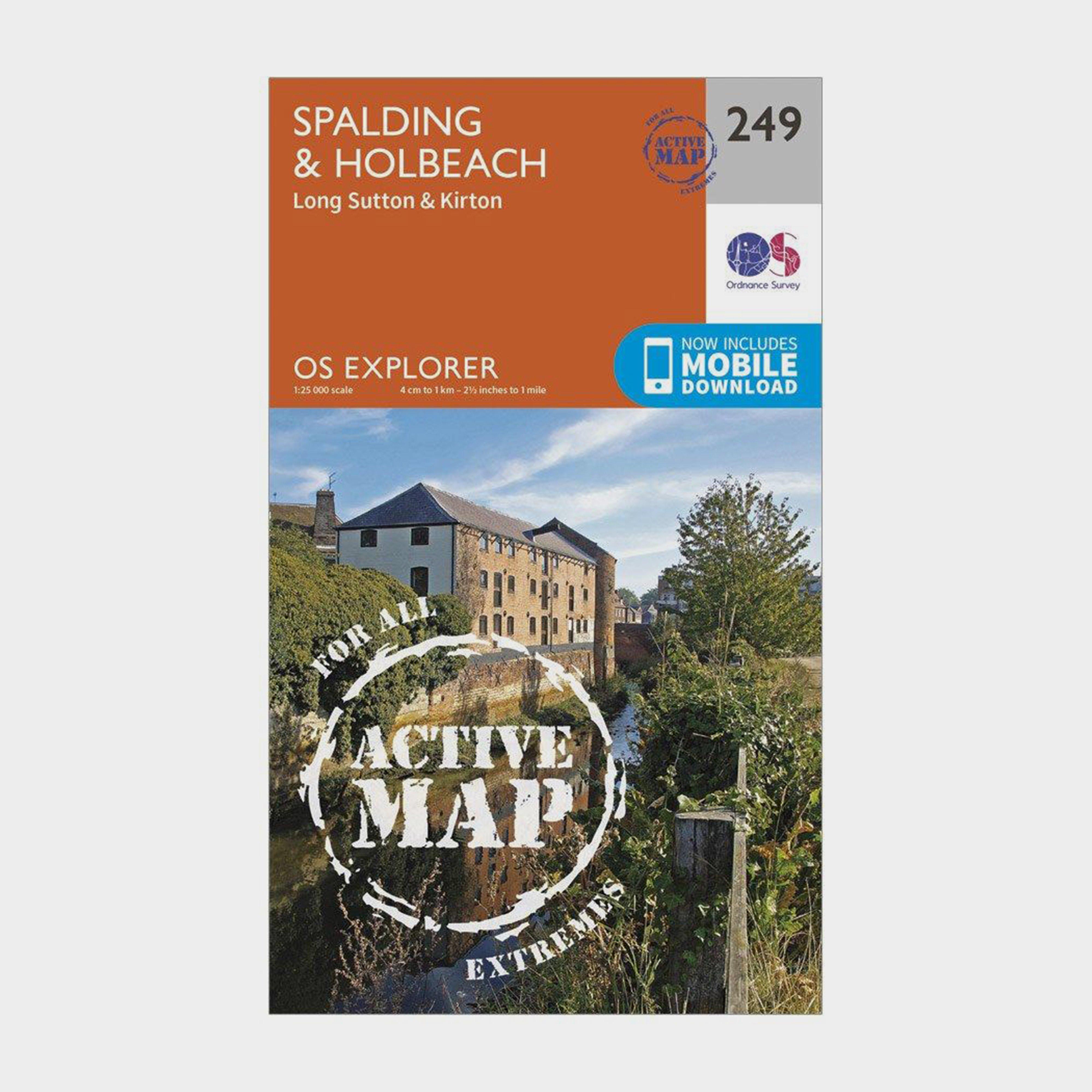 Ordnance Survey Explorer Active 249 SpaldingandHolbeach Map With Digital Version - Orange/d  Orange/d