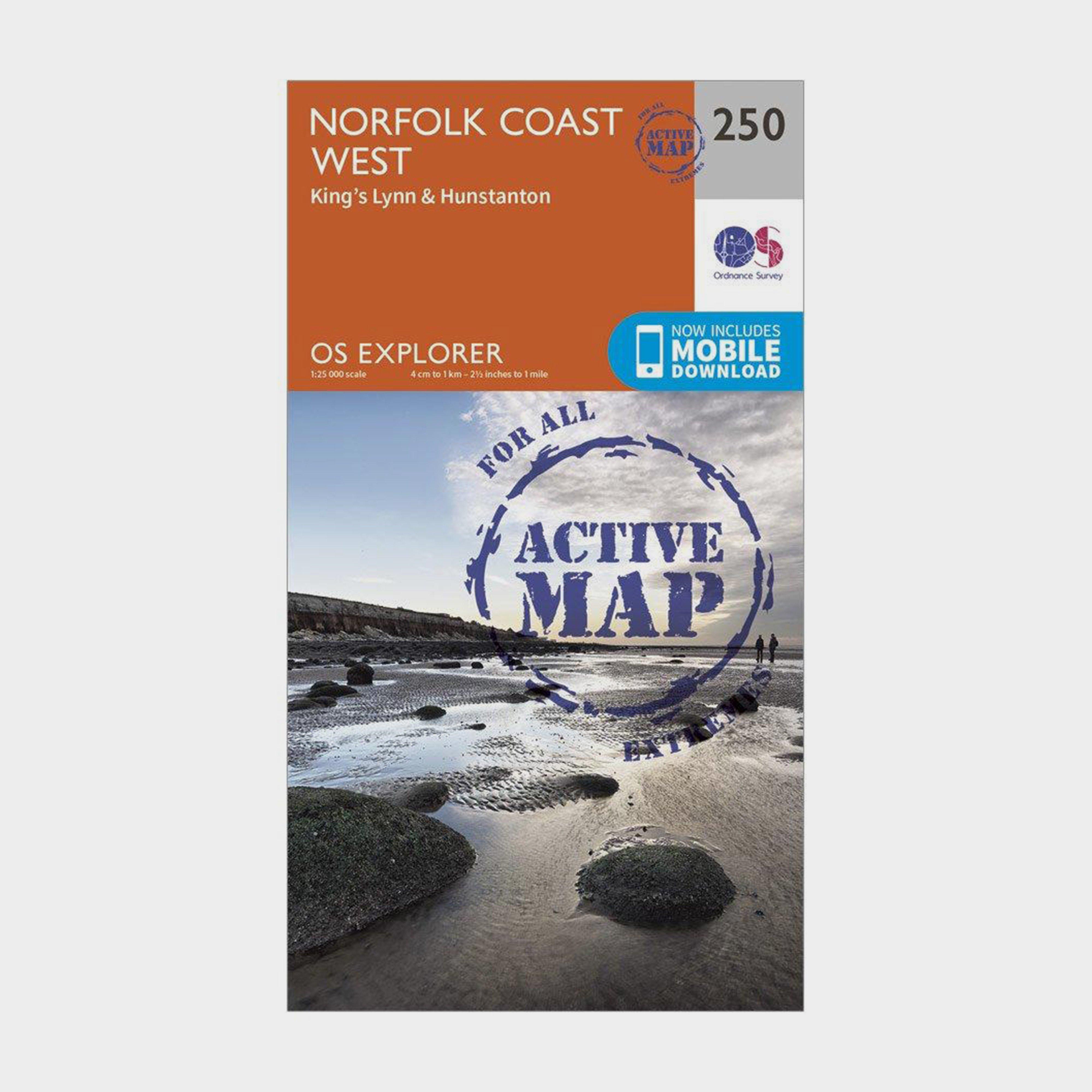 Ordnance Survey Explorer Active 250 Norfolk Coast West Map With Digital Version - D/d  D/d