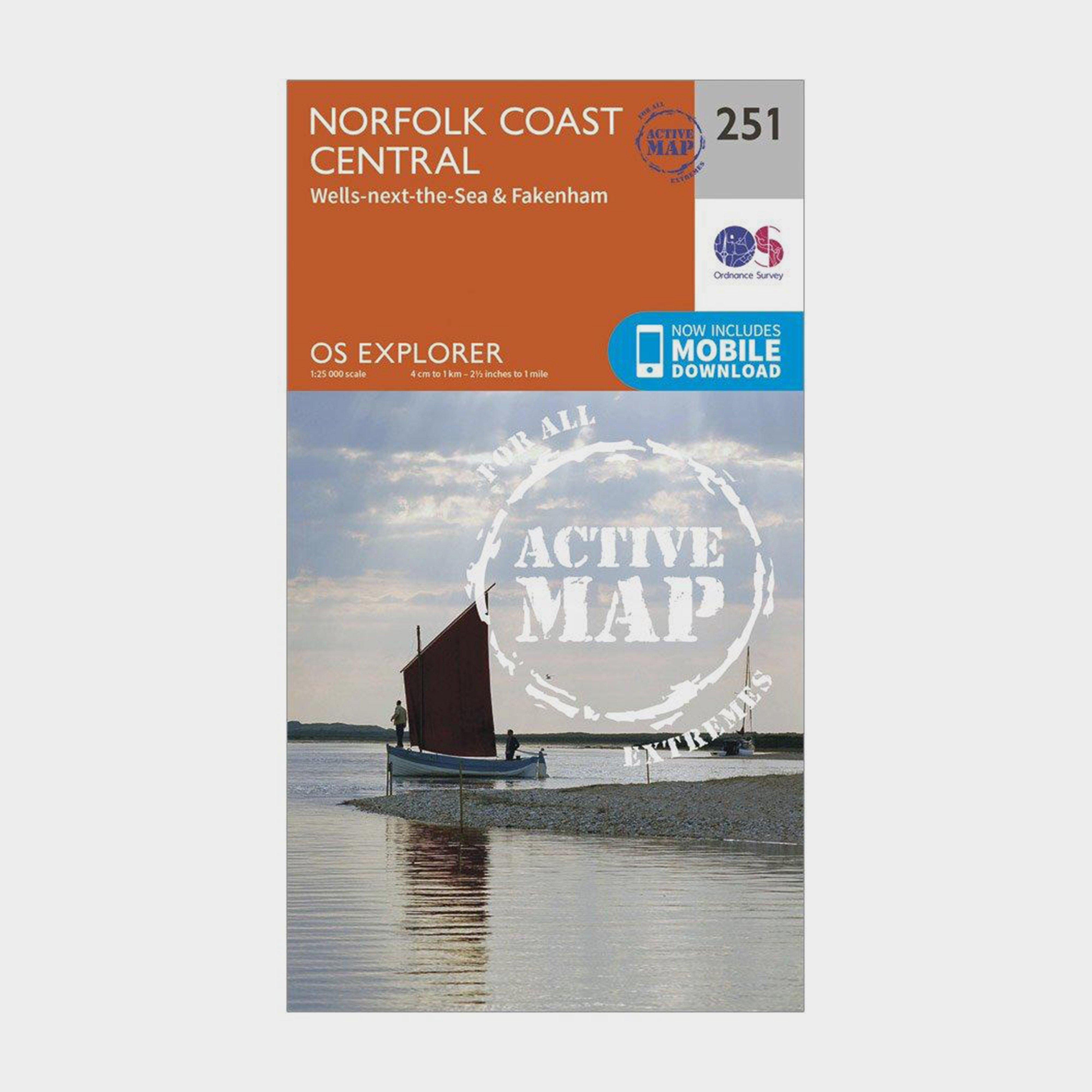 Ordnance Survey Explorer Active 251 Norfolk Coast Central Map With Digital Version - Orange/d  Orange/d