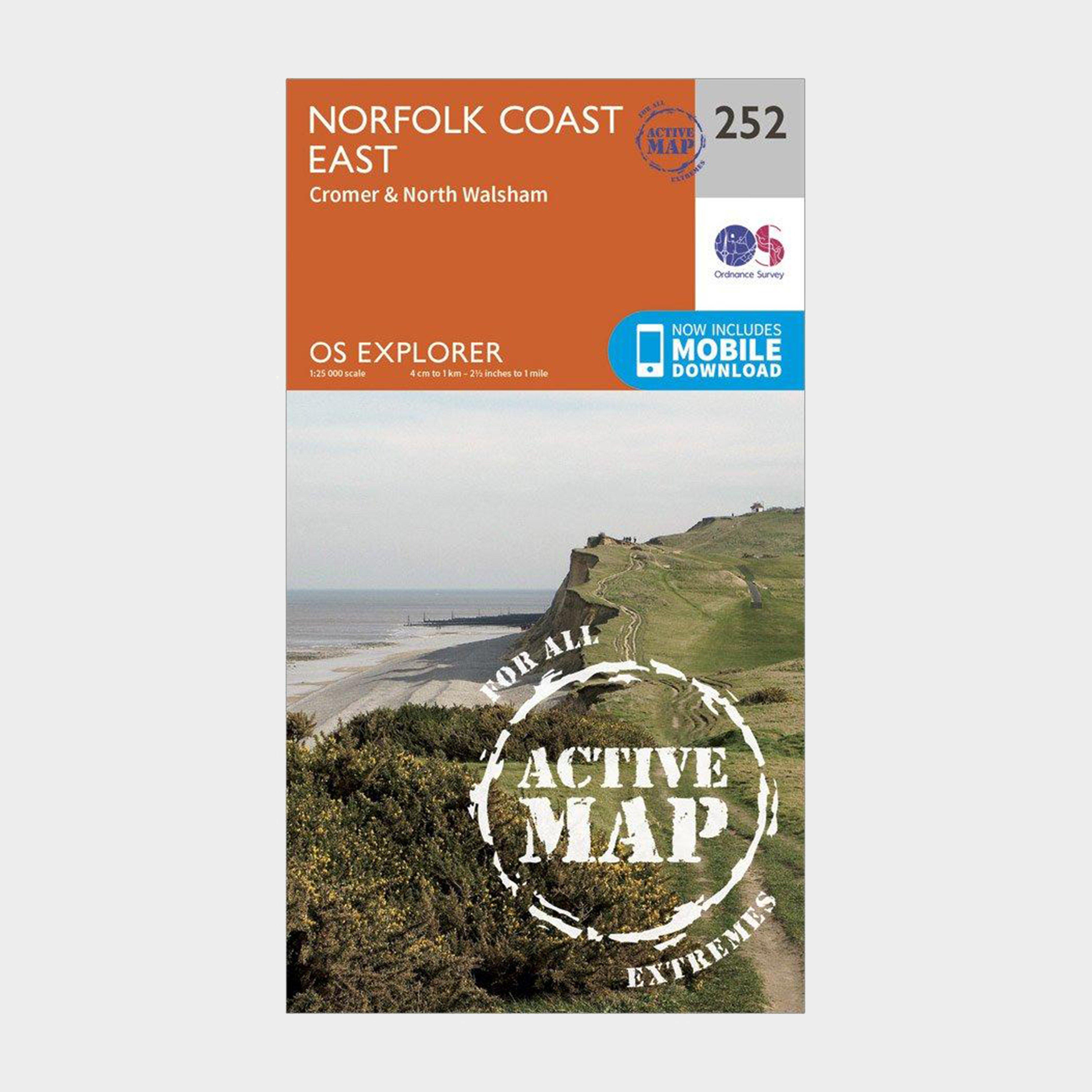 Ordnance Survey Explorer Active 252 Norfolk Coast East Map With Digital Version - Orange/d  Orange/d