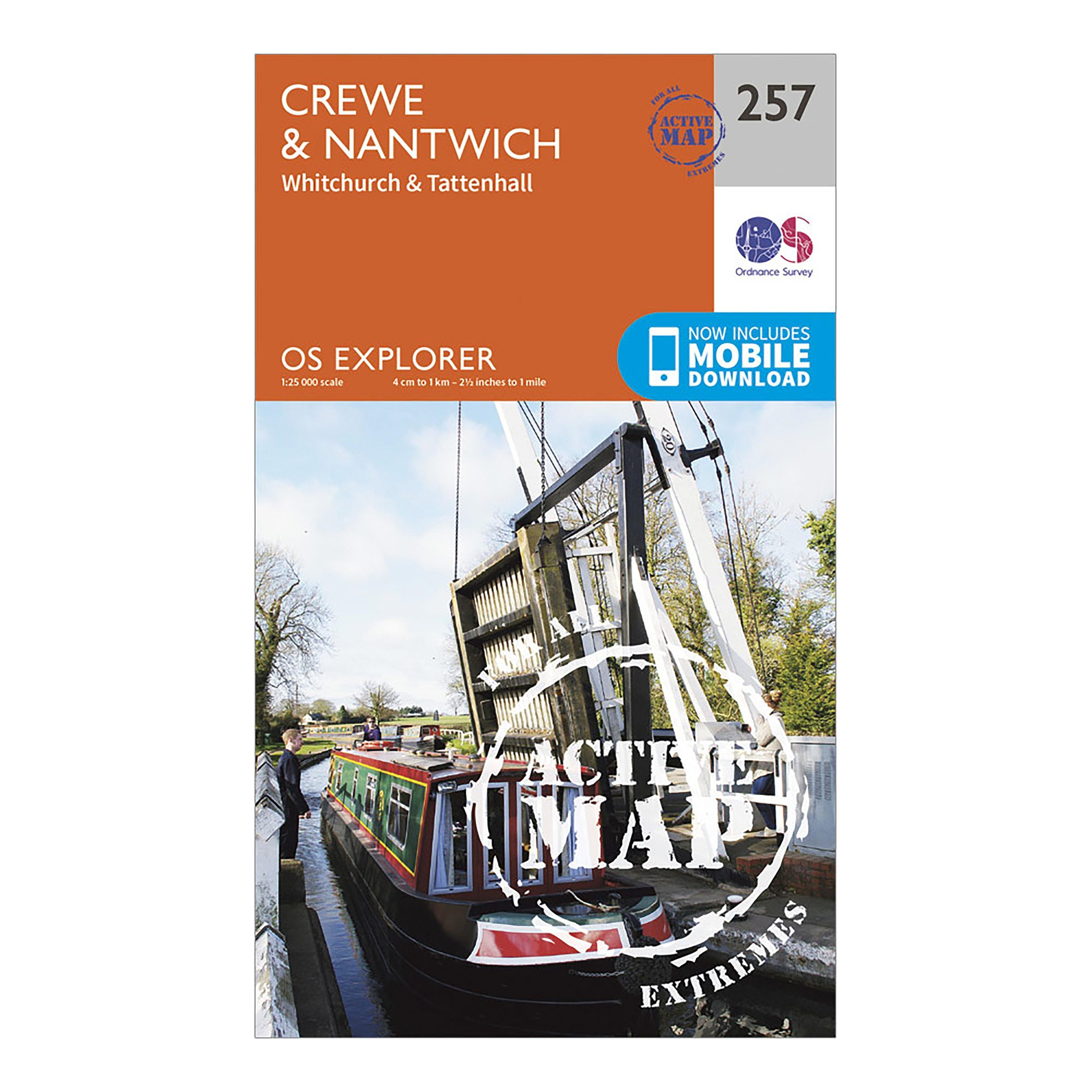 Ordnance Survey Explorer Active 257 CreweandNantwich Map With Digital Version - Orange/d  Orange/d