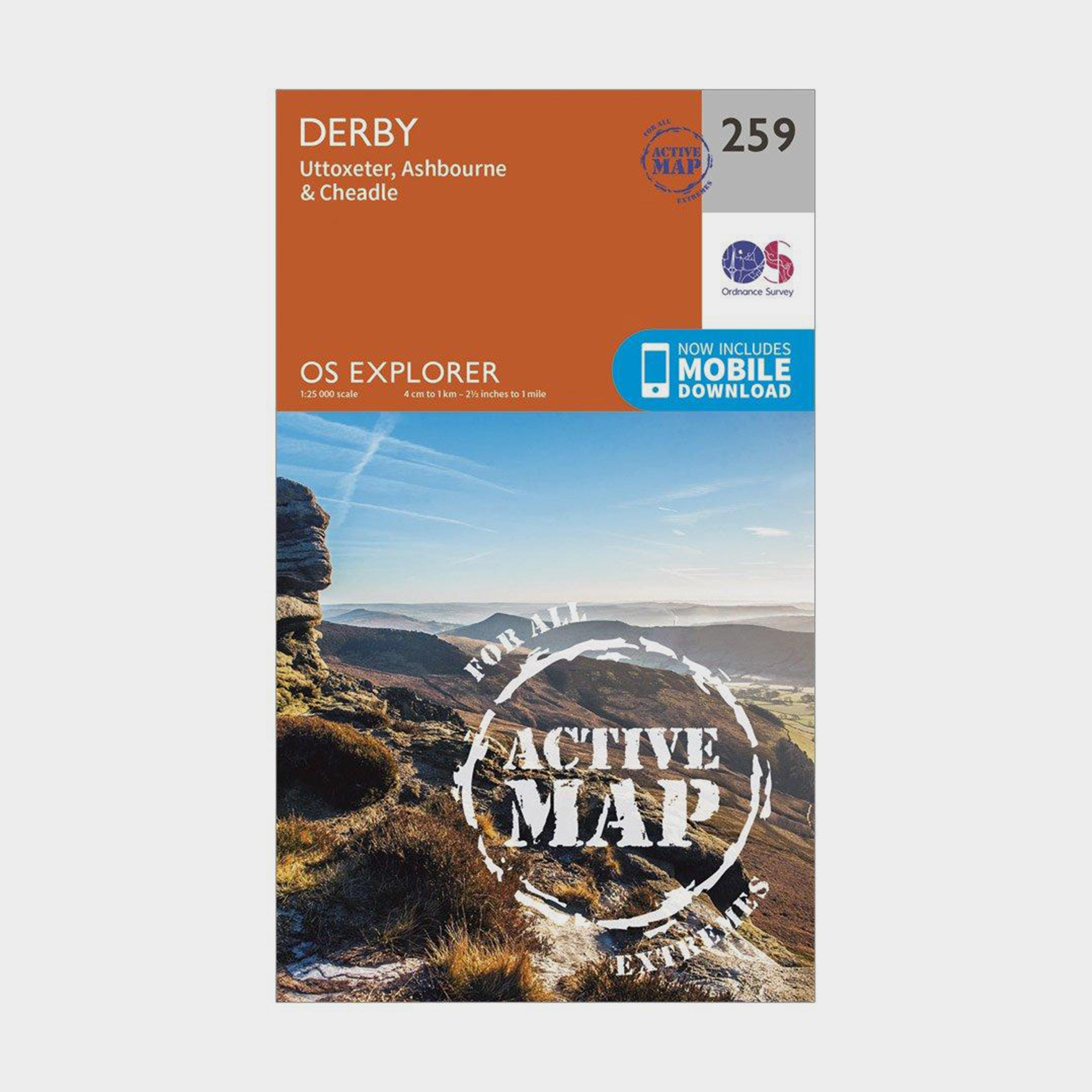 Ordnance Survey Explorer Active 259 Derby  Uttoxeter  AshbourneandCheadle Map With Digital Version - Orange/d  Orange/d