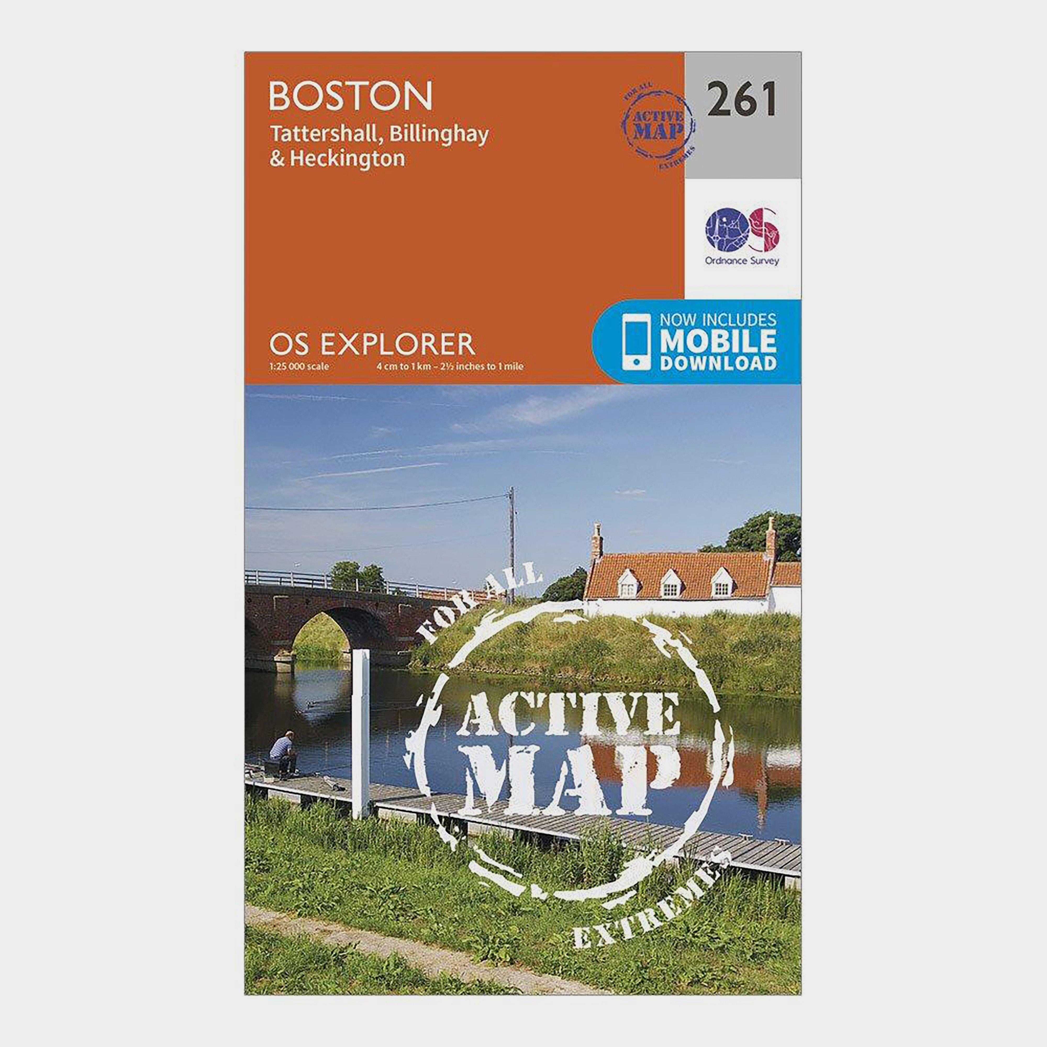 Ordnance Survey Explorer Active 261 Boston Map With Digital Version - Orange/d  Orange/d