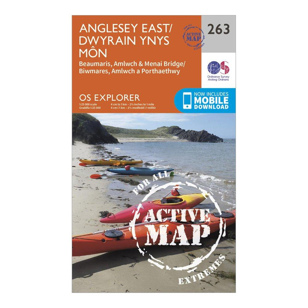 Ordnance Survey Explorer Active 263 Anglesey East Map With Digital Version - Orange/d  Orange/d
