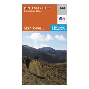ORDNANCE SURVEY Explorer 344 Pentland Hills Map With Digital Version