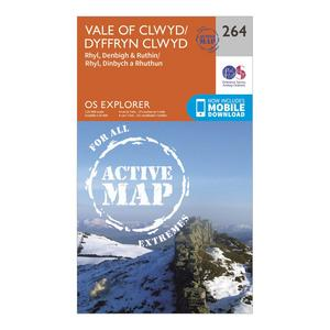 ORDNANCE SURVEY Explorer Active 264 Vale of Clwyd, Rhyl, Denbigh & Ruthin Map With Digital Version