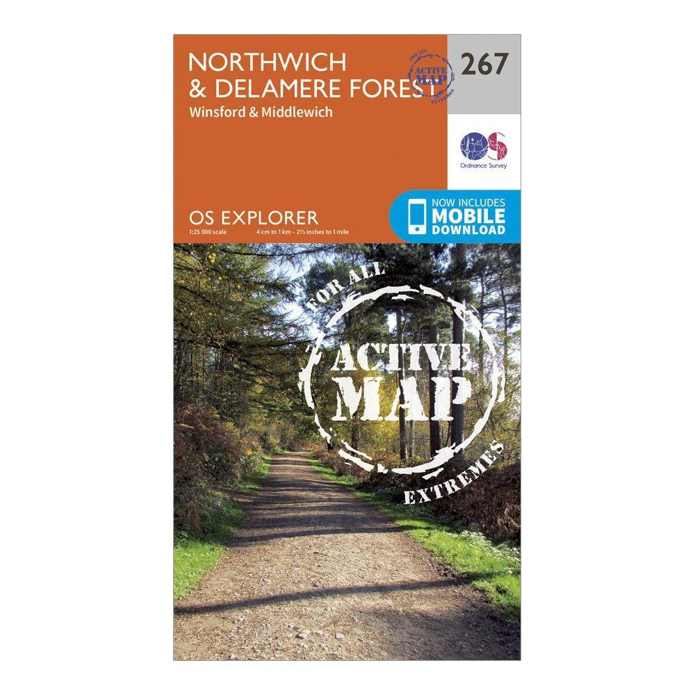 Ordnance Survey Explorer Active 267 NorthwichandDelamere Forest Map With Digital Version - Orange/d  Orange/d