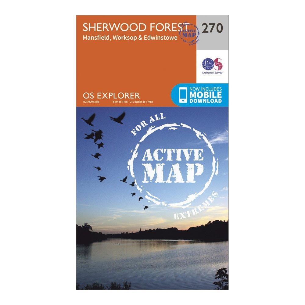 Ordnance Survey Explorer Active 270 Sherwood Forest Map With Digital Version - Orange/d  Orange/d