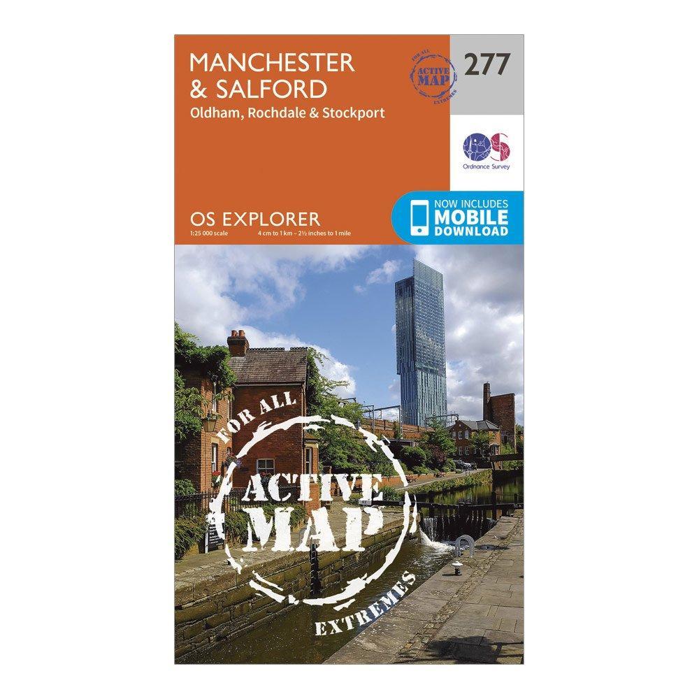 Ordnance Survey Explorer Active 277 ManchesterandSalford Map With Digital Version - Orange/d  Orange/d