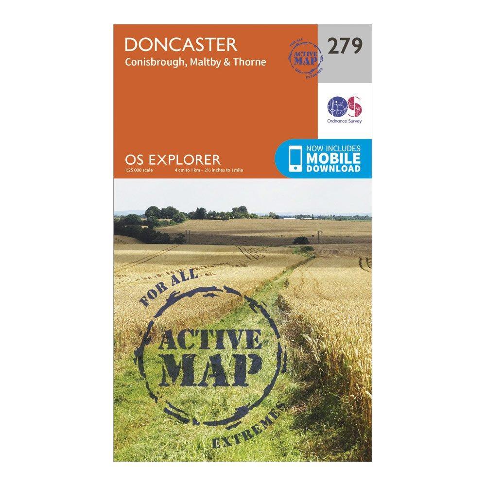 Ordnance Survey Explorer Active 279 Doncaster Map With Digital Version - Orange/d  Orange/d
