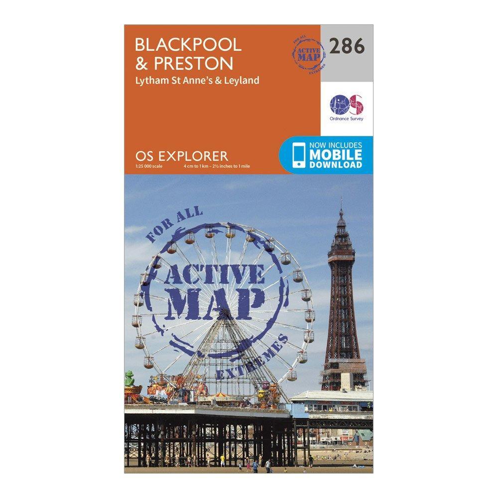 Ordnance Survey Explorer Active 286 BlackpoolandPreston Map With Digital Version - Orange/d  Orange/d