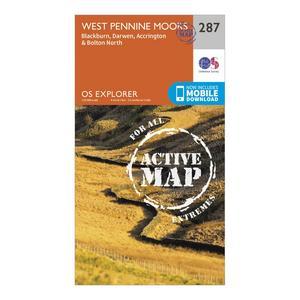 ORDNANCE SURVEY Explorer Active 287 West Pennine Moors, Blackburn, Darwen & Accrington Map With Digital Version