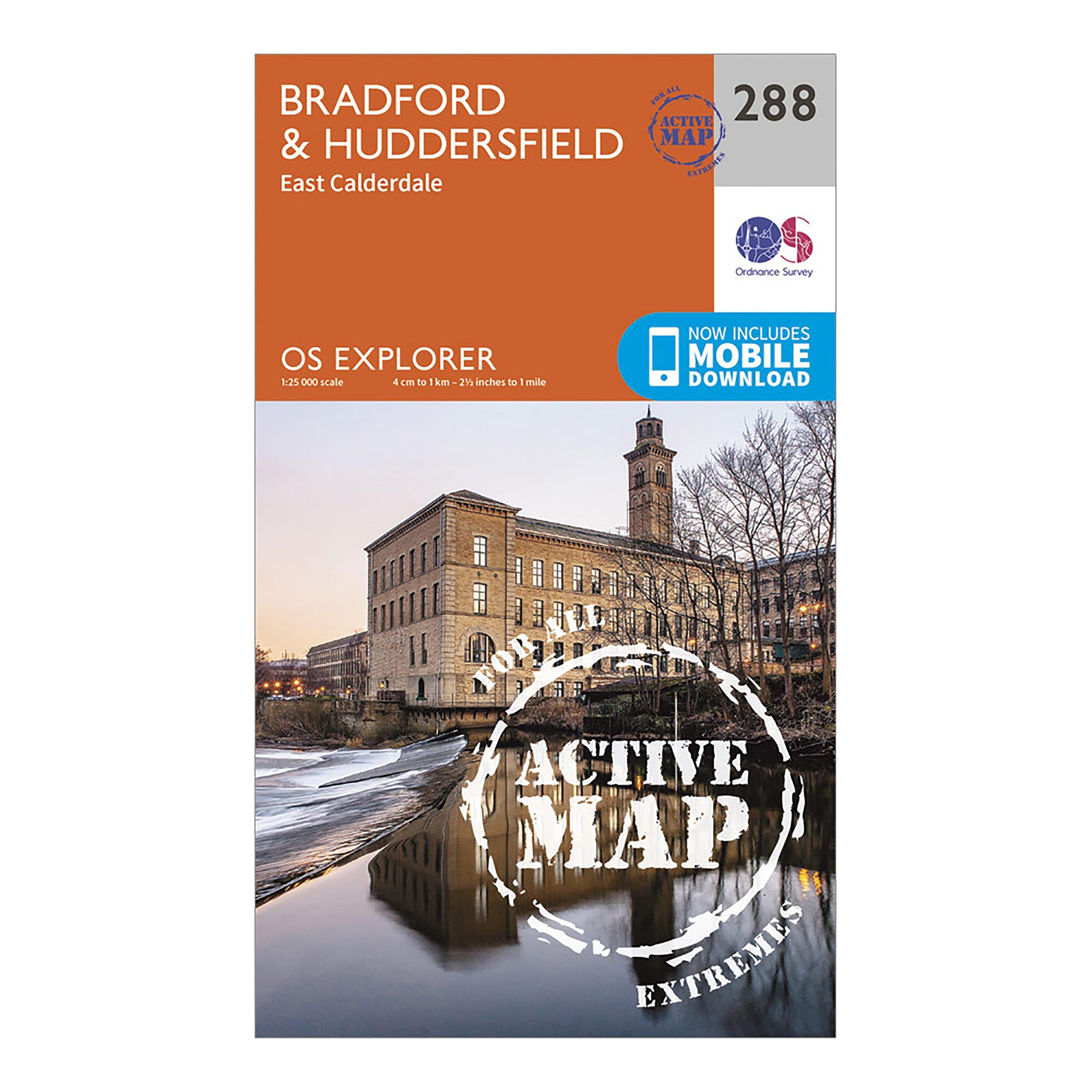 Ordnance Survey Explorer Active 288 BradfordandHuddersfield Map With Digital Version - Orange/orange  Orange/orange