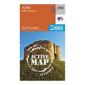 ORDNANCE SURVEY Explorer Active 290 York Map With Digital Version