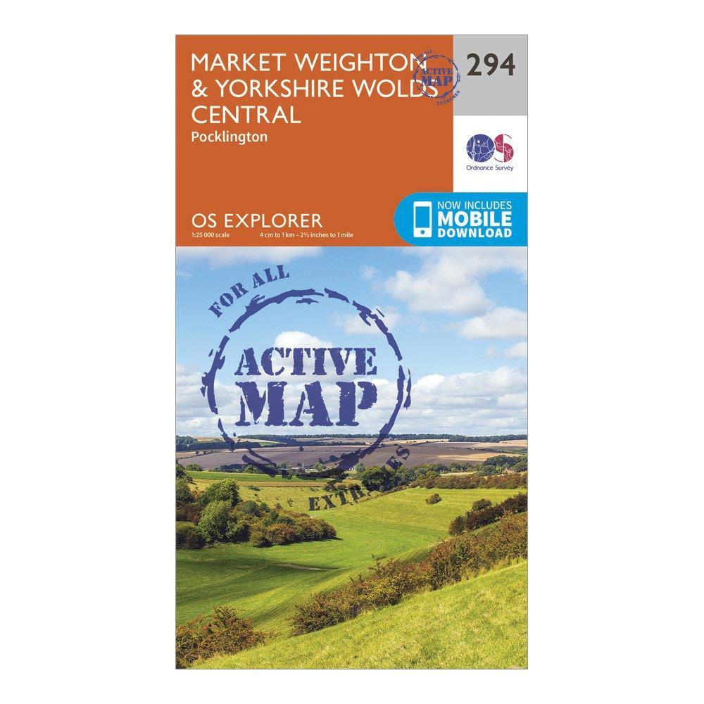 Ordnance Survey Explorer Active 294 Market WeightonandYorkshire Wolds Central Map With Digital Version - Orange/d  Orange/d