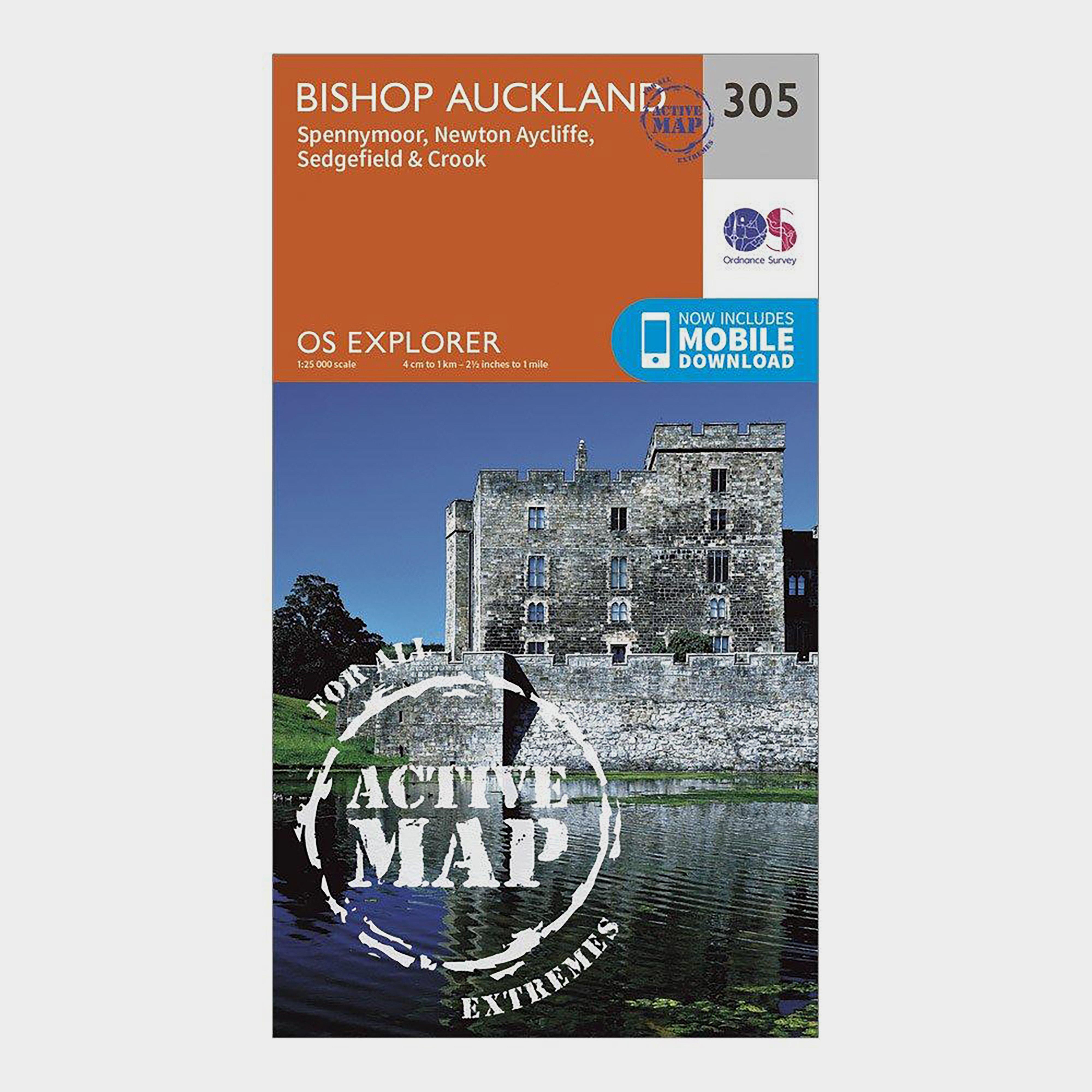 Ordnance Survey Explorer Active 305 Bishop Auckland Map With Digital Version - Orange/d  Orange/d
