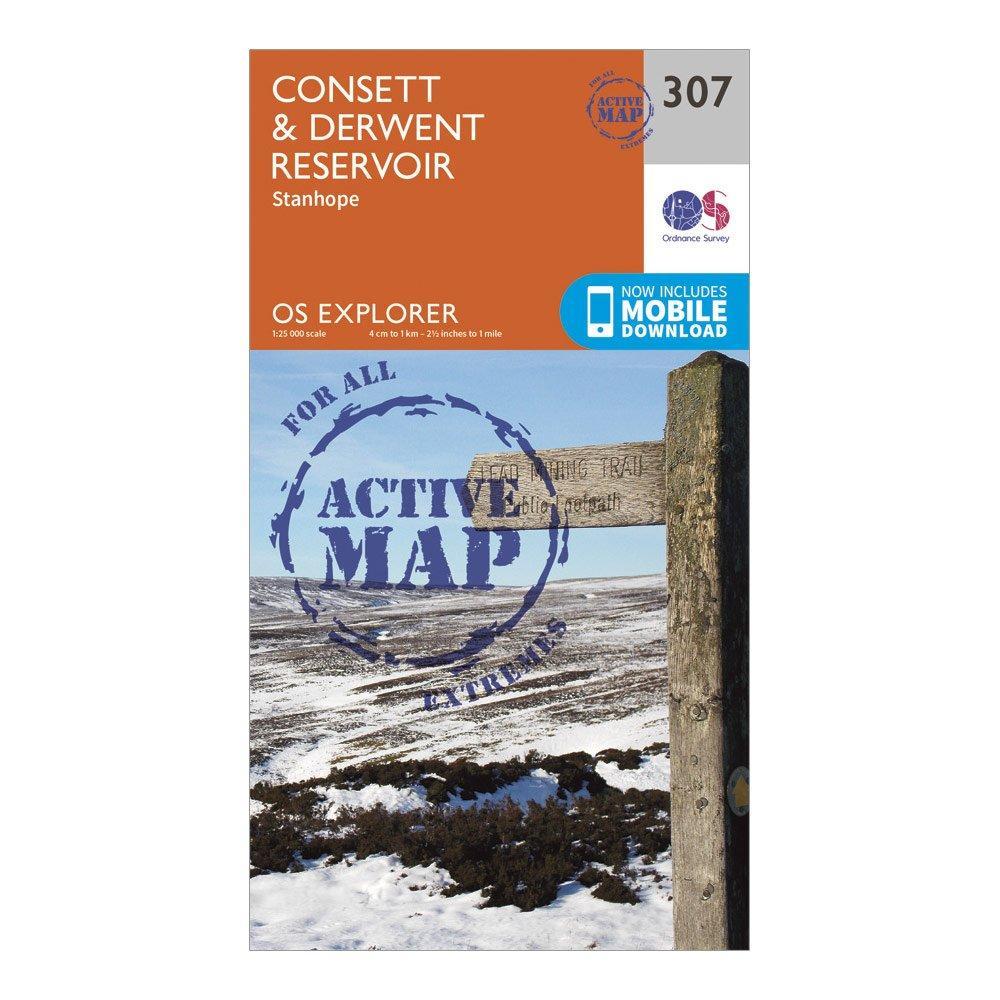 Ordnance Survey Explorer Active 307 ConsettandDerwent Reservoir Map With Digital Version - D/d  D/d