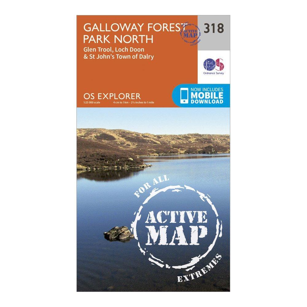 Ordnance Survey Explorer Active 318 Galloway Forest Park North Map With Digital Version - Orange/orange  Orange/orange