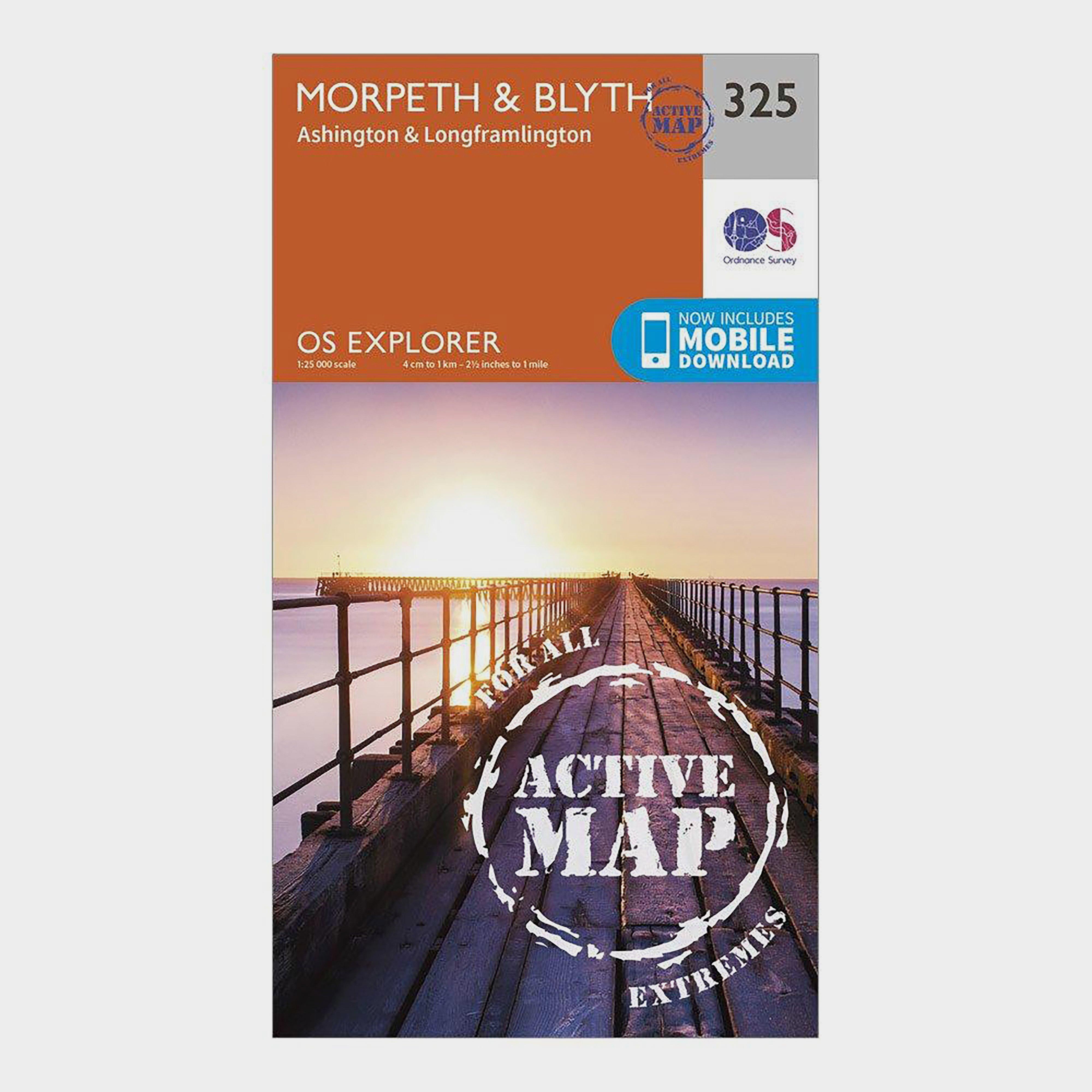 Ordnance Survey Explorer Active 325 MorpethandBlyth Map With Digital Version - Orange/d  Orange/d