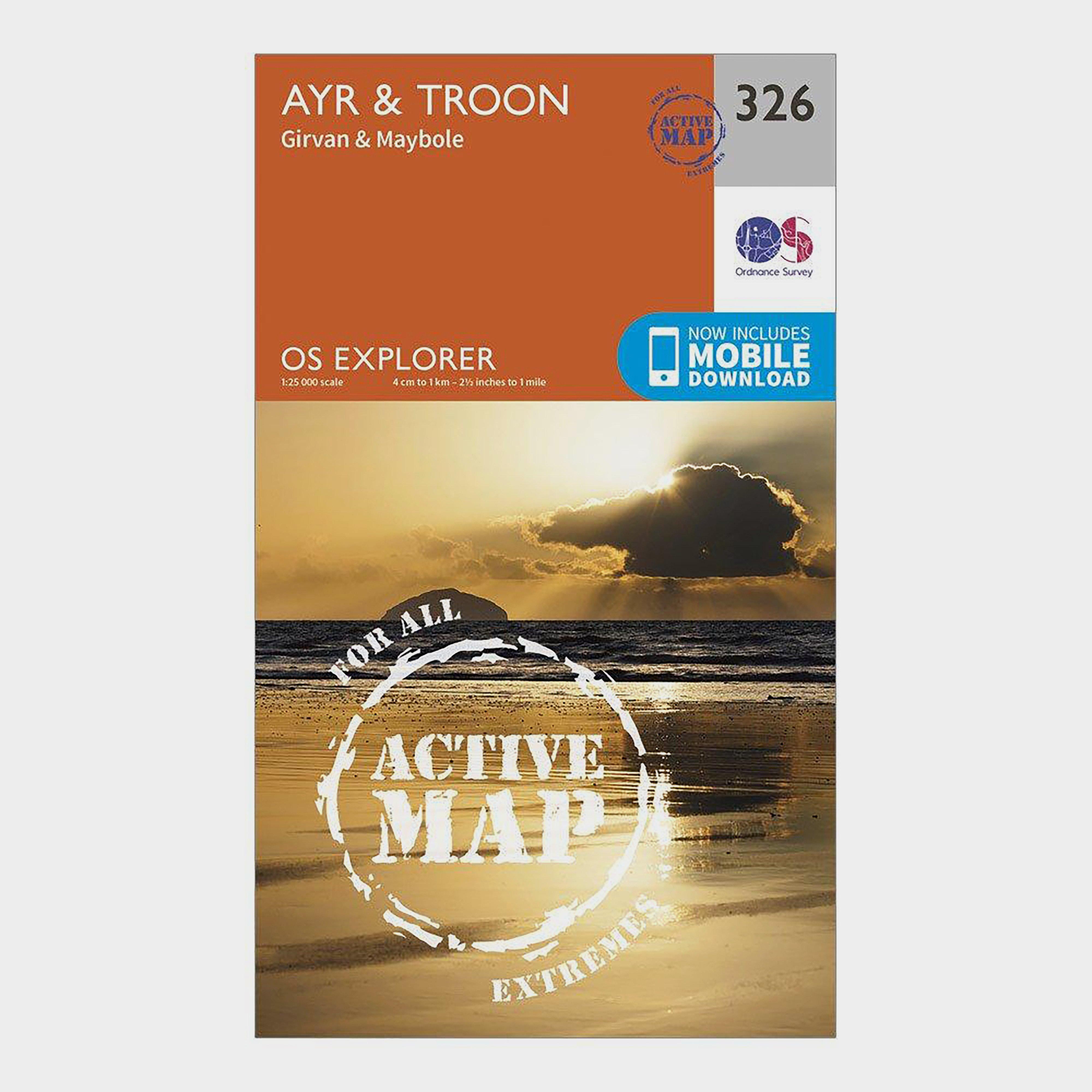 Ordnance Survey Explorer Active 326 AyrandTroon Map With Digital Version - Orange/d  Orange/d