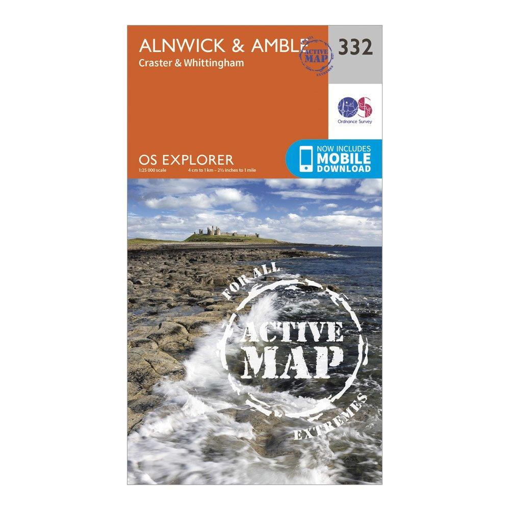 Ordnance Survey Explorer Active 332 AlnwickandAmble Map With Digital Version - Orange/d  Orange/d