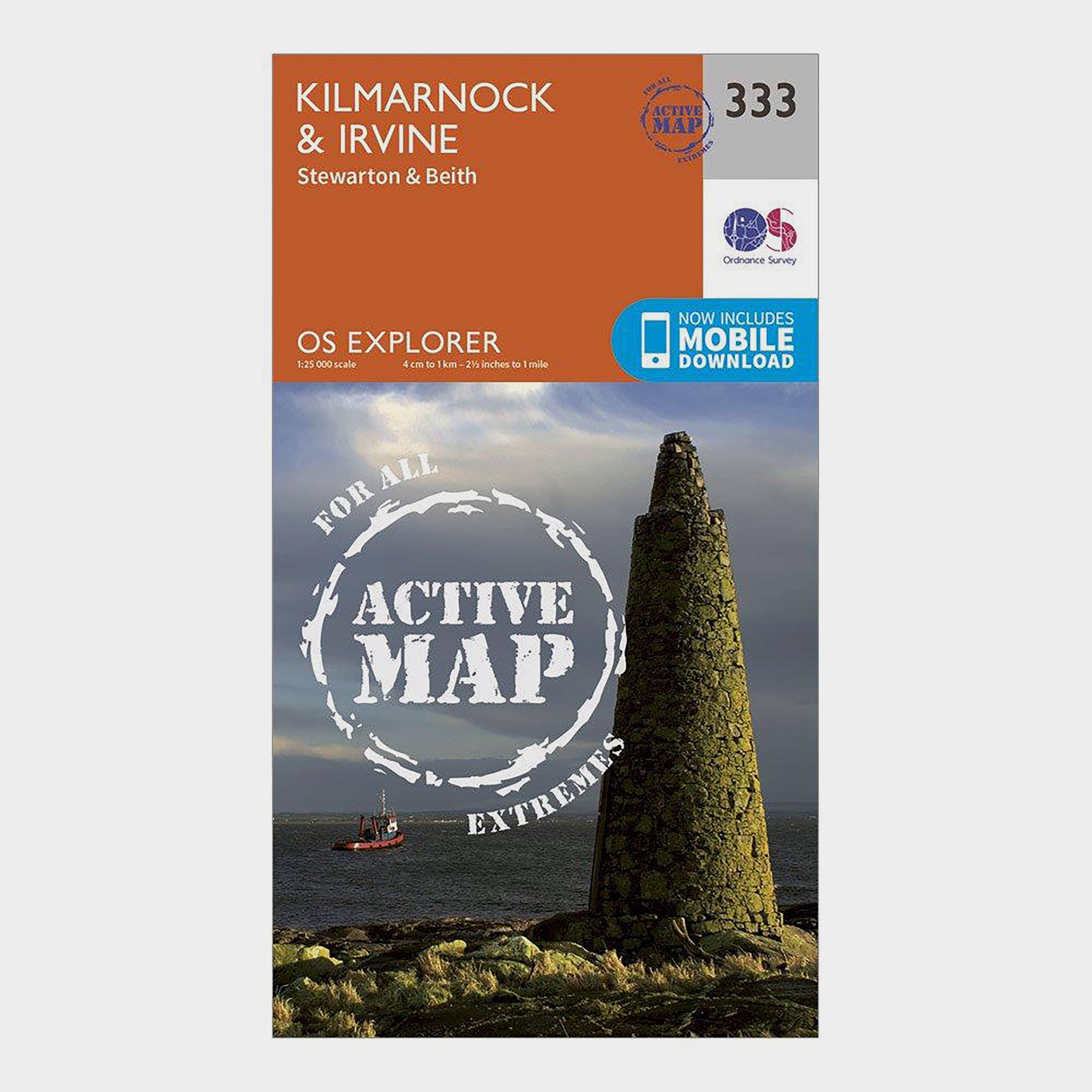 Ordnance Survey Explorer Active 333 Kilmarnock & Irvine Map With Digital Version - Orange/D, Orange/D
