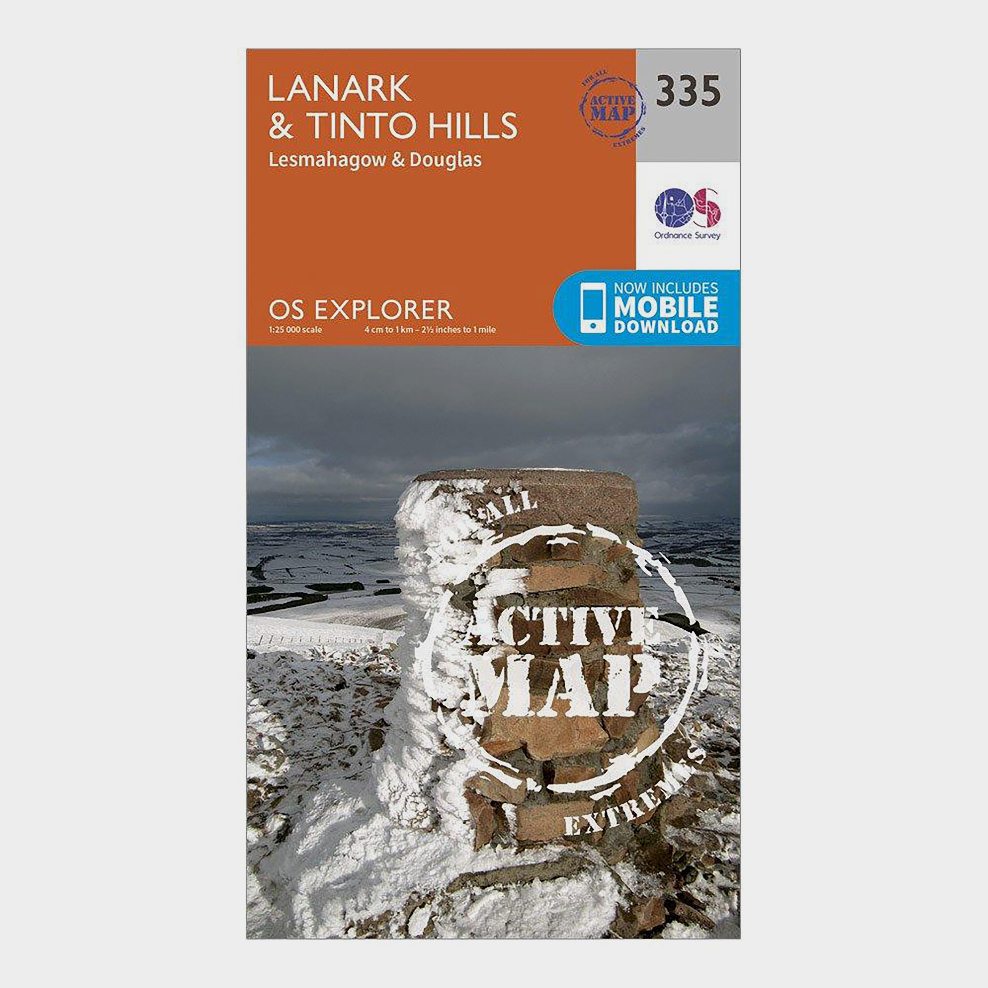 Ordnance Survey Explorer Active 335 Lanark & Tinto Hills Map With Digital Version - Orange/D, Orange/D