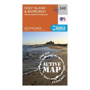 ORDNANCE SURVEY Explorer Active 340 Holy Island & Bamburgh Map With Digital Version