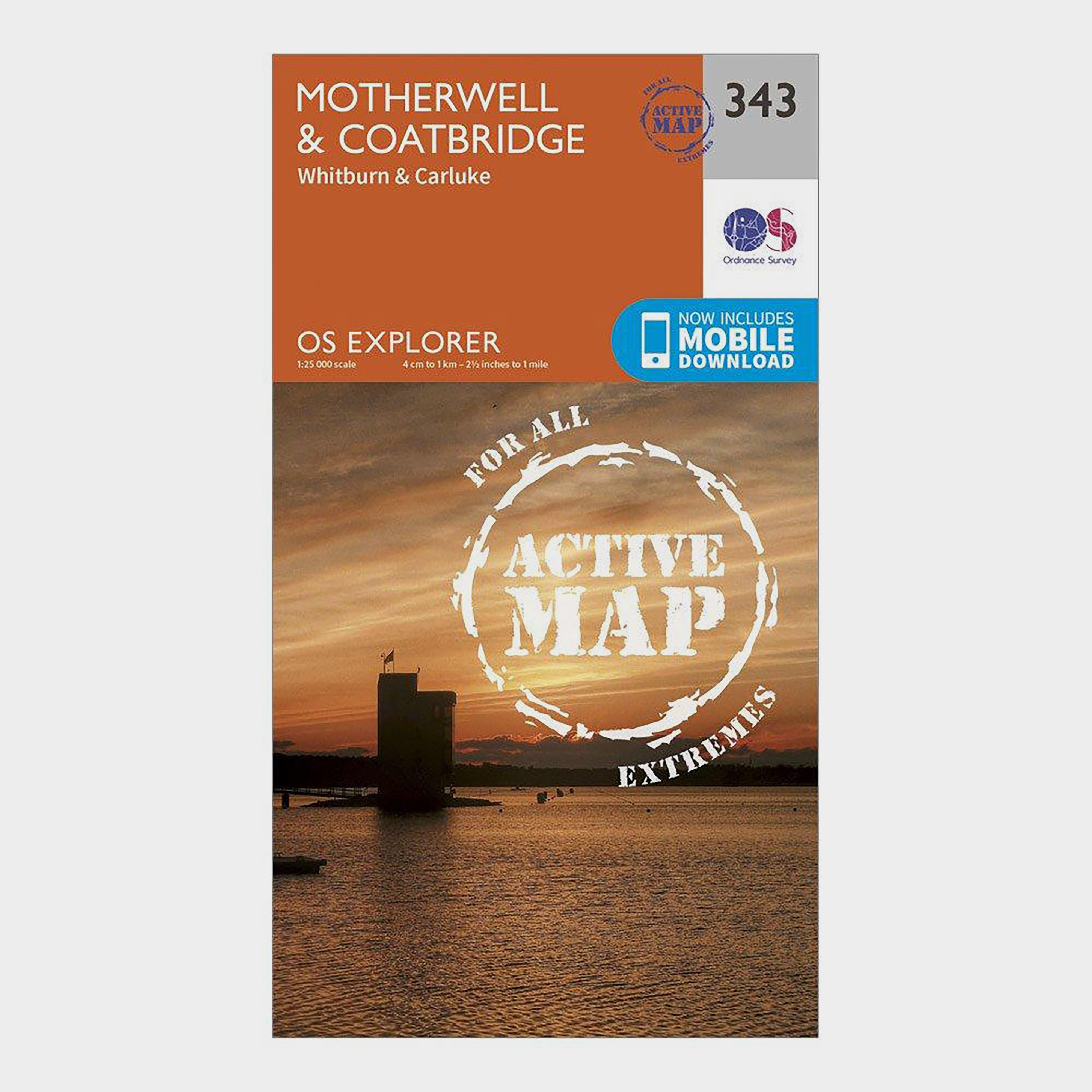 Ordnance Survey Explorer Active 343 Motherwell & Coatbridge Map With Digital Version - Orange/D, Orange/D